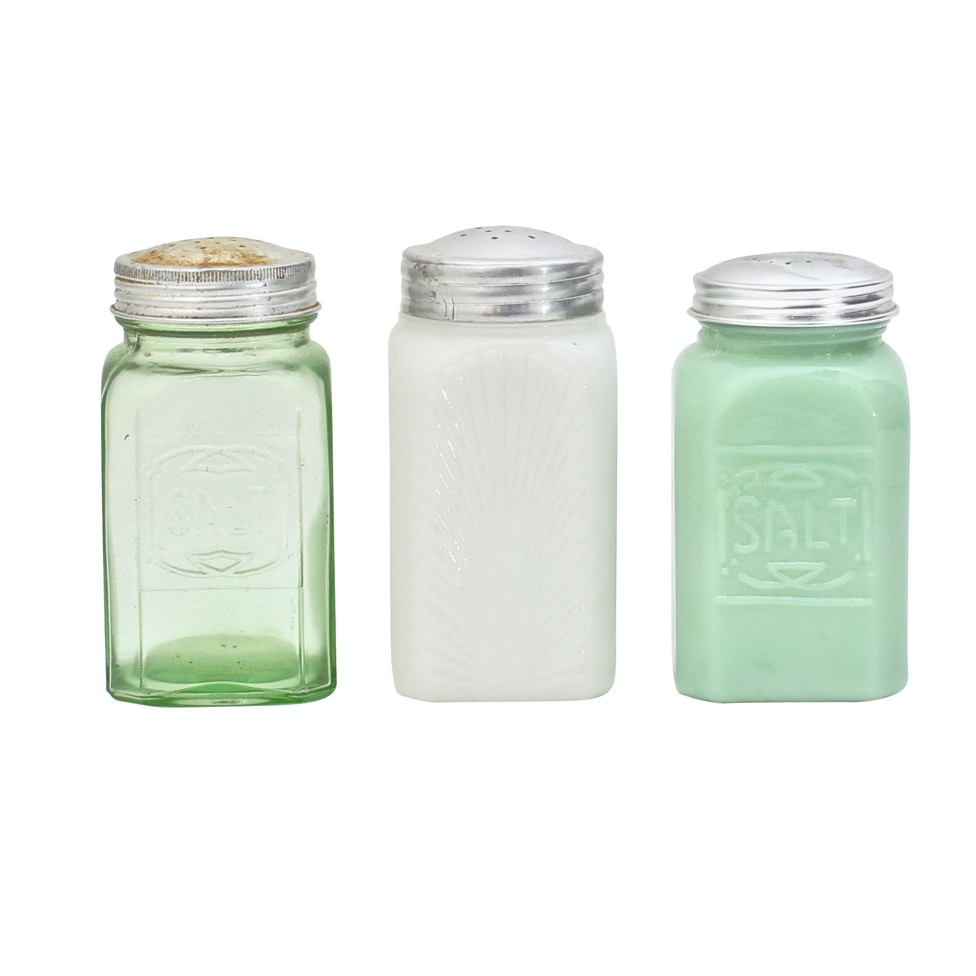 Vintage Single Salt & Pepper Shakers Including Jadeite and Milkglass