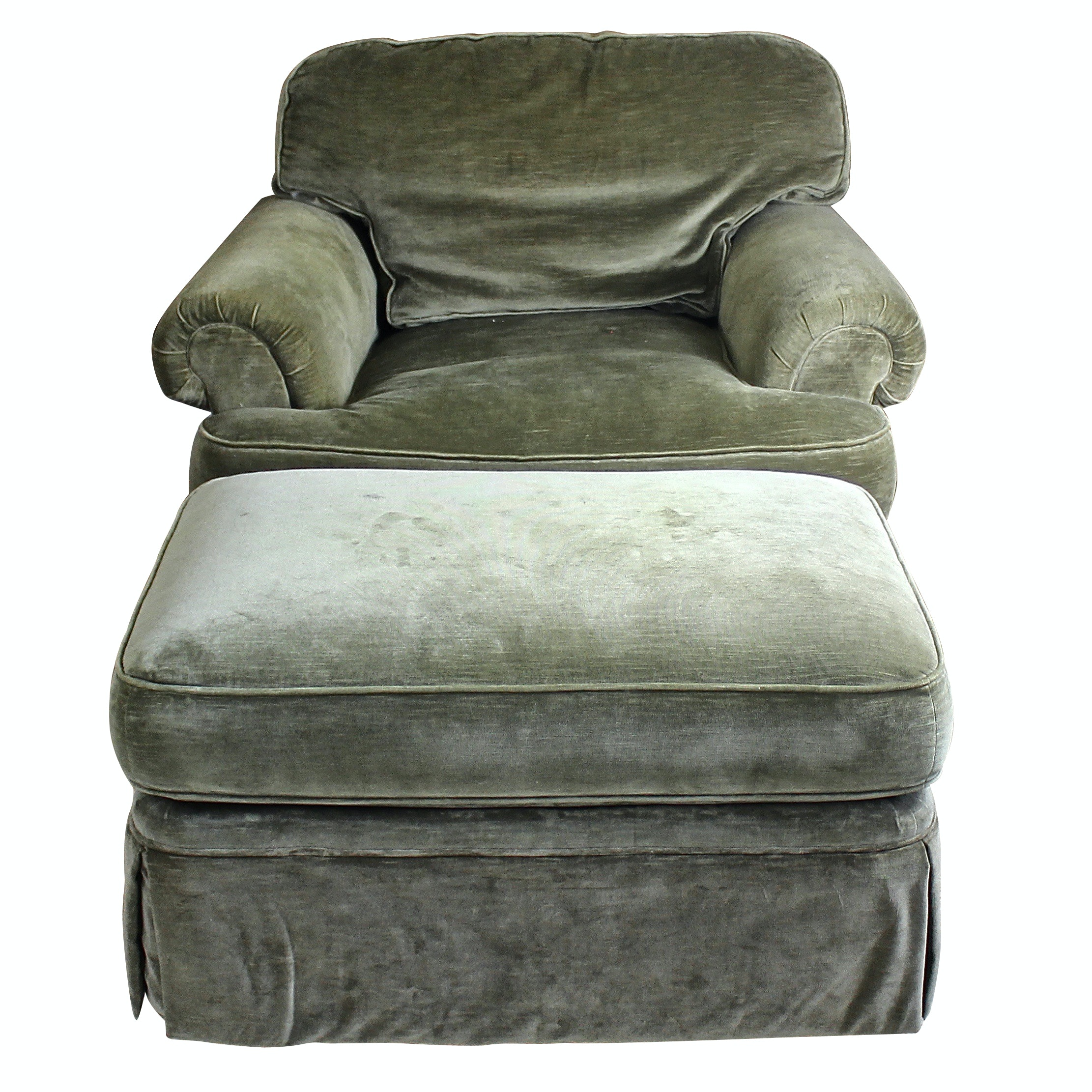 Henredon Green Cotton Velvet Down-Filled Arm Chair and Ottoman