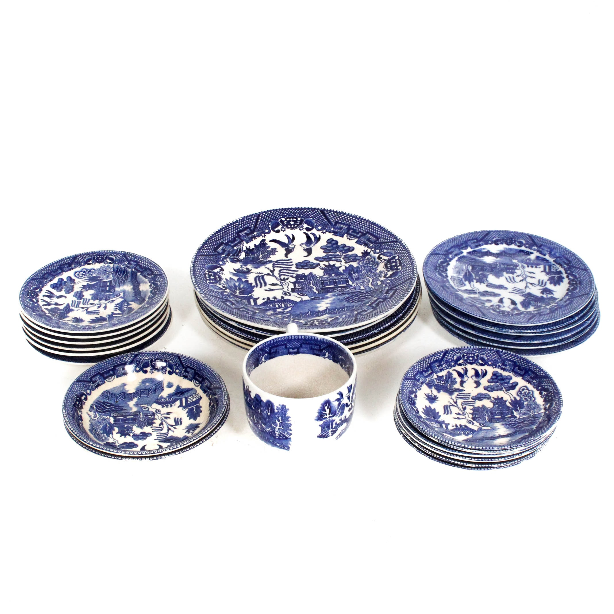 "Collection of ""Blue Willow"" Dinnerware"