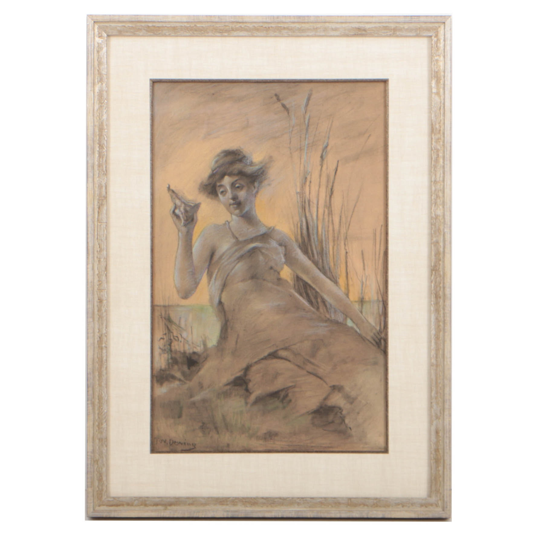 Thomas Wilmer Dewing Early 20th Century Pastel and Charcoal Drawing