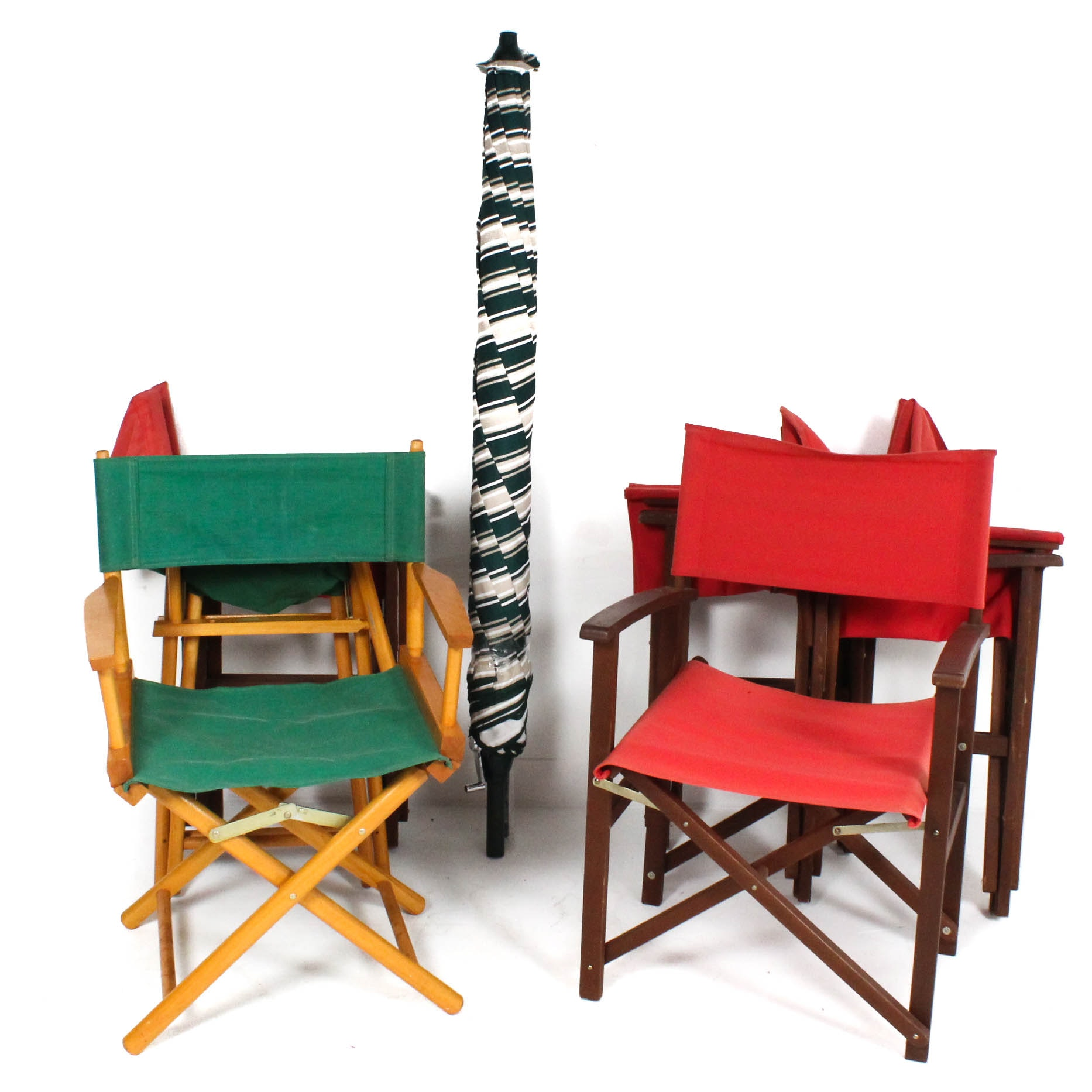 Vintage Collapsible Director Chairs and Patio Umbrella