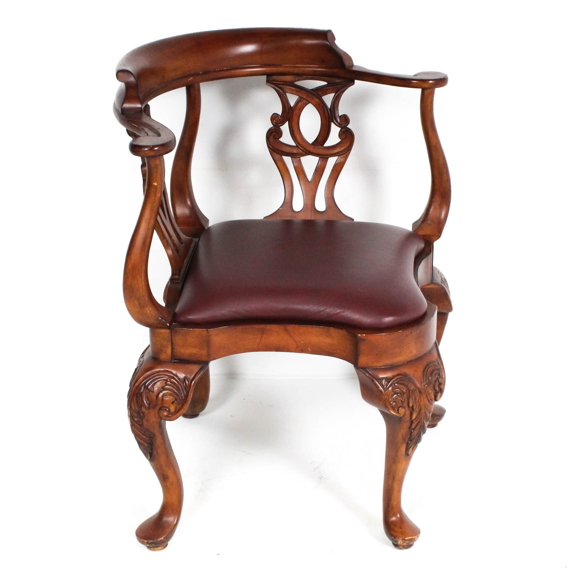 Michael Amini Leather Upholstered Corner Chair