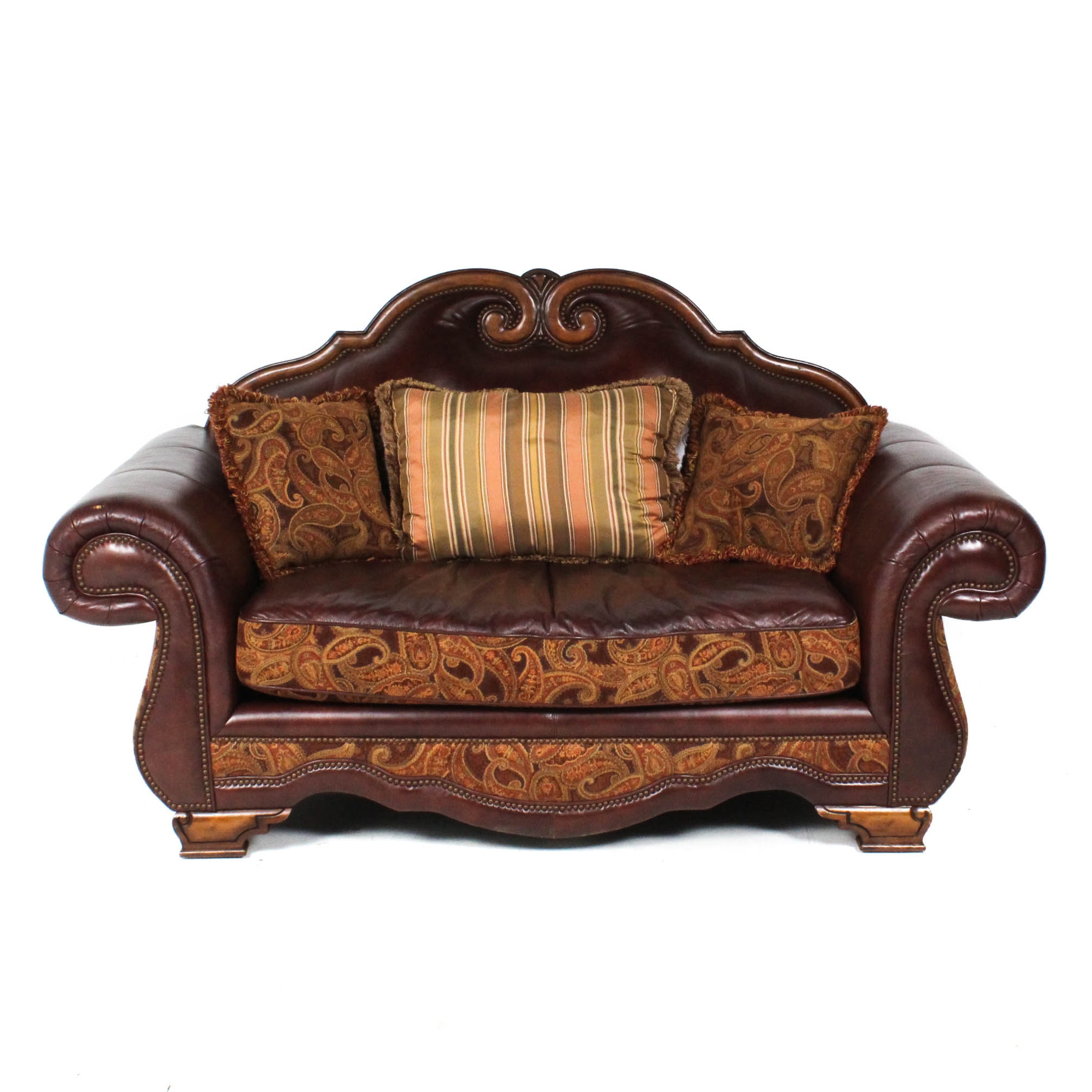 Michael Amini Leather and Paisley Loveseat