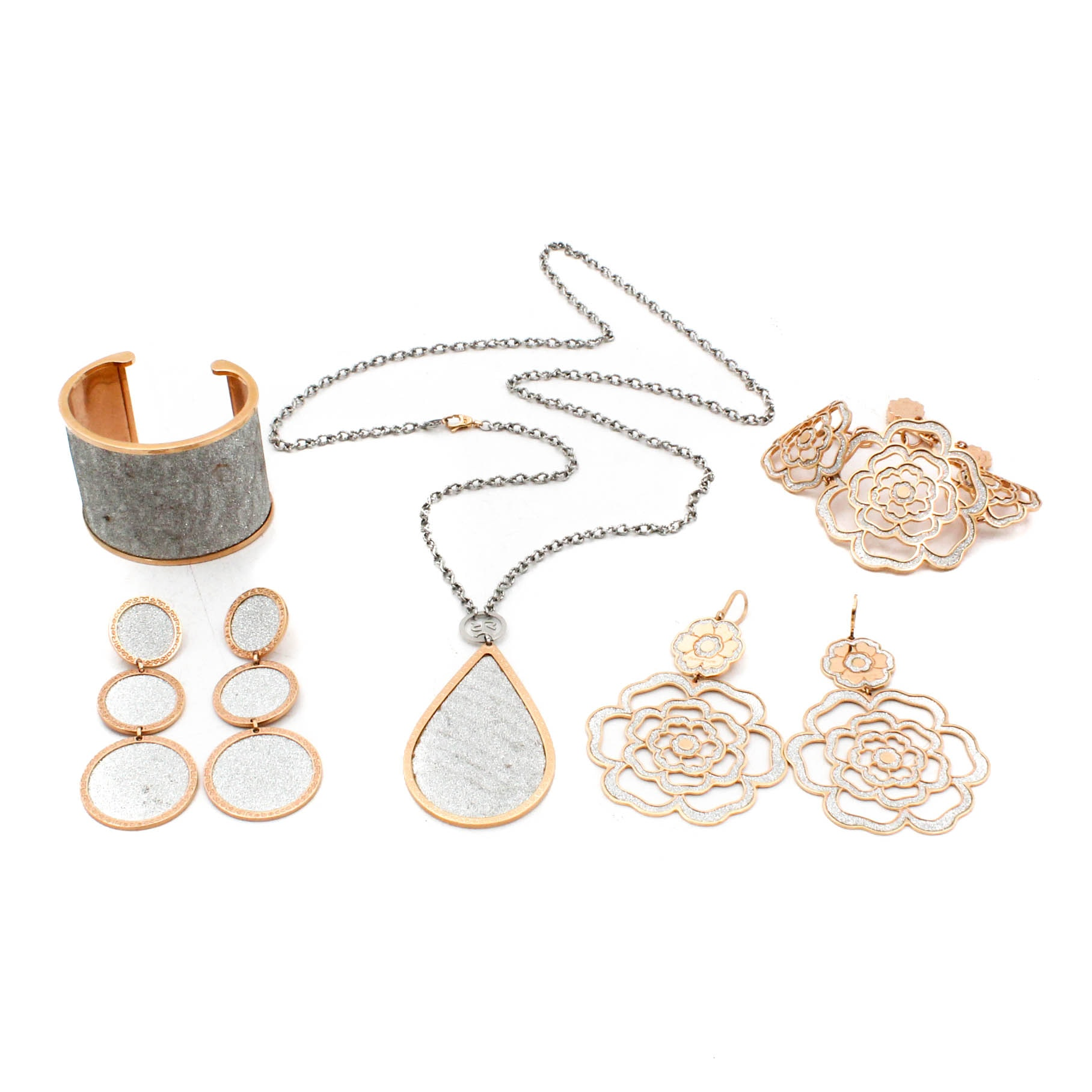 Gold Tone Costume Jewelry Featuring Rebecca