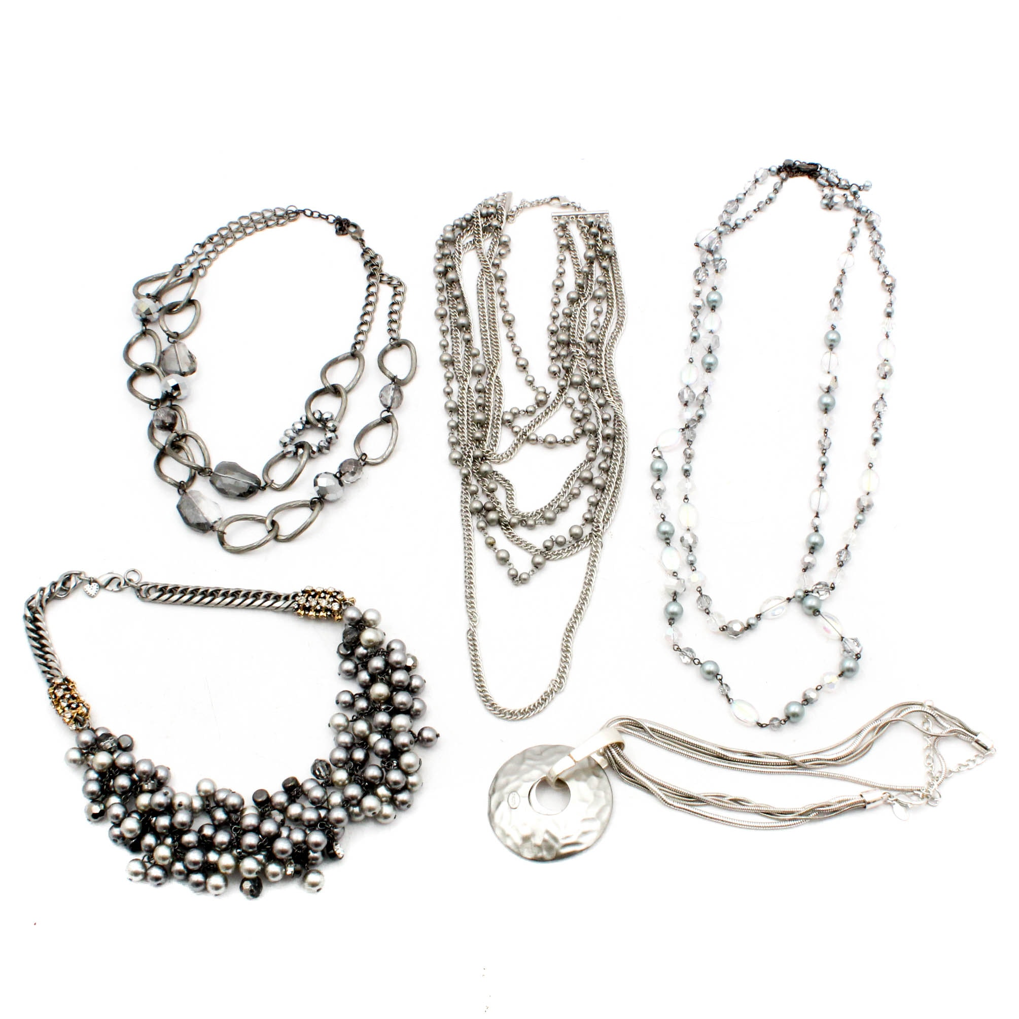 Silver Tone Costume Necklaces Including Chico's