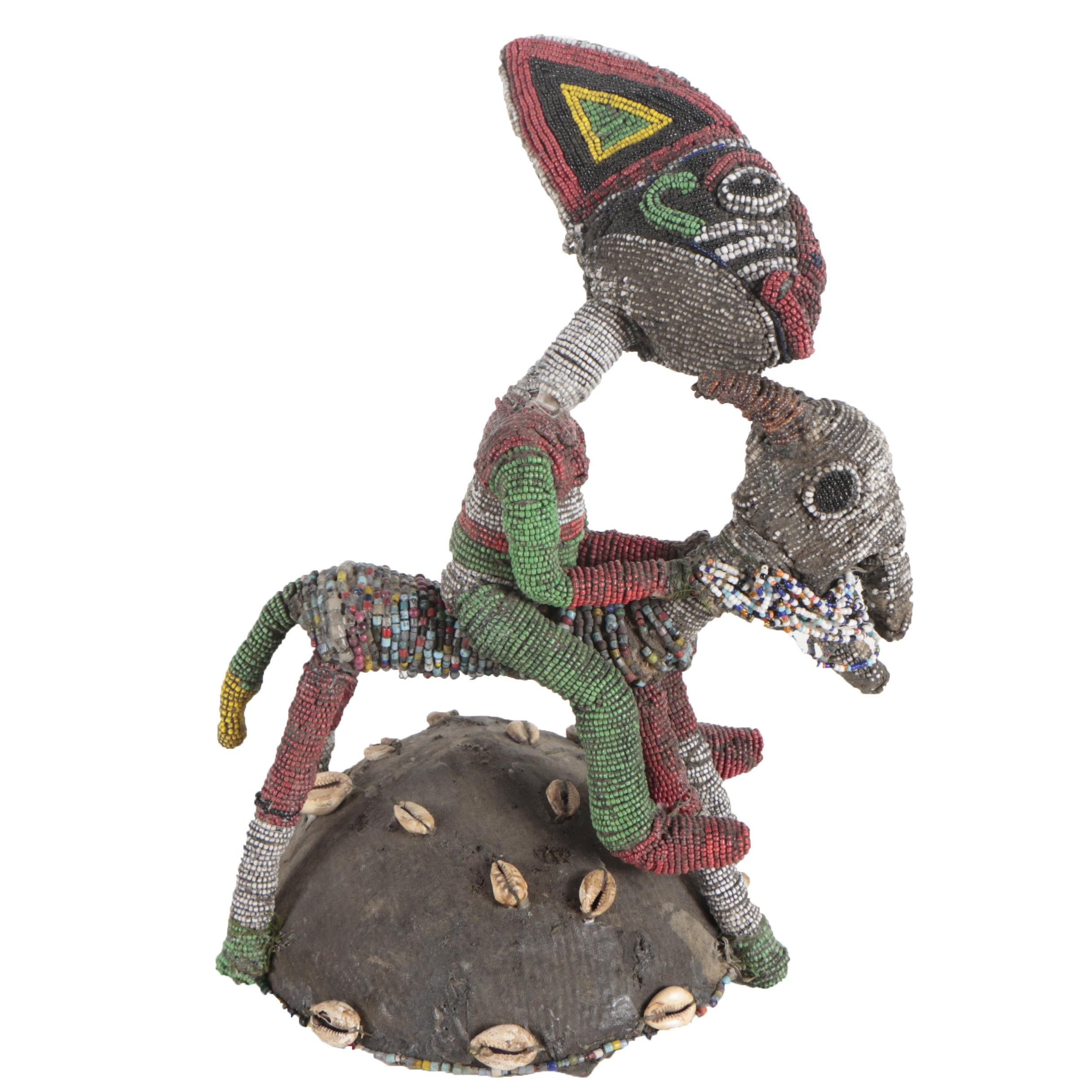 20th Century Beaded Equestrian Figure from Cameroon