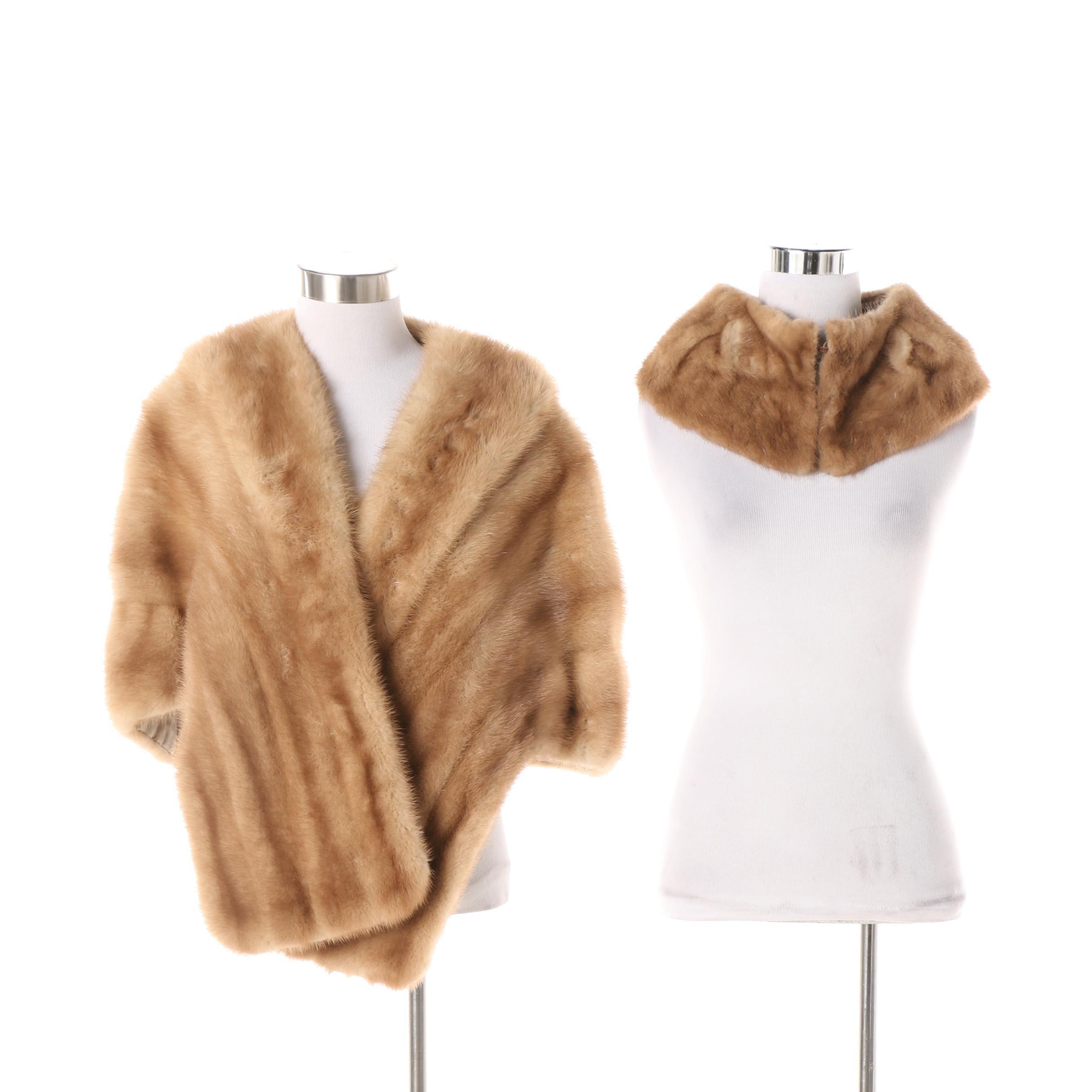 Women's Vintage Jack Slade Furs Blonde Mink Fur Stole and Collar