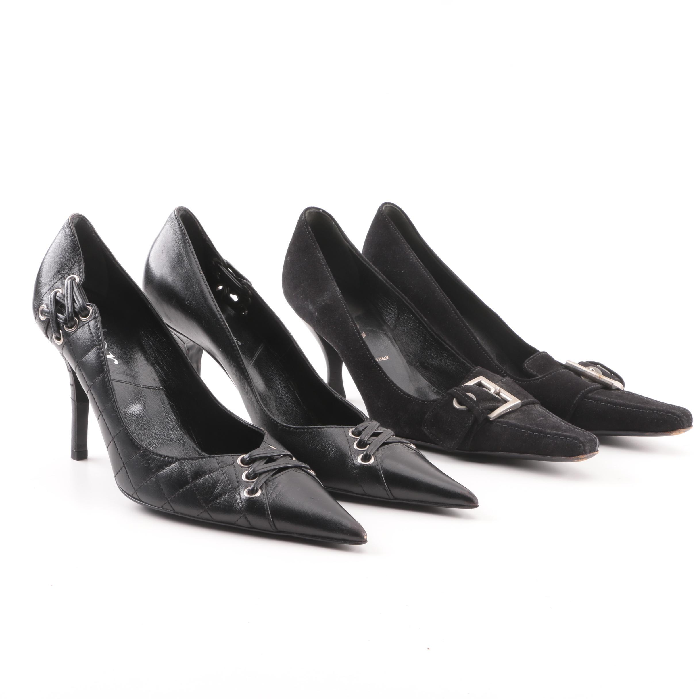Prada and Dior Black High-Heeled Pumps