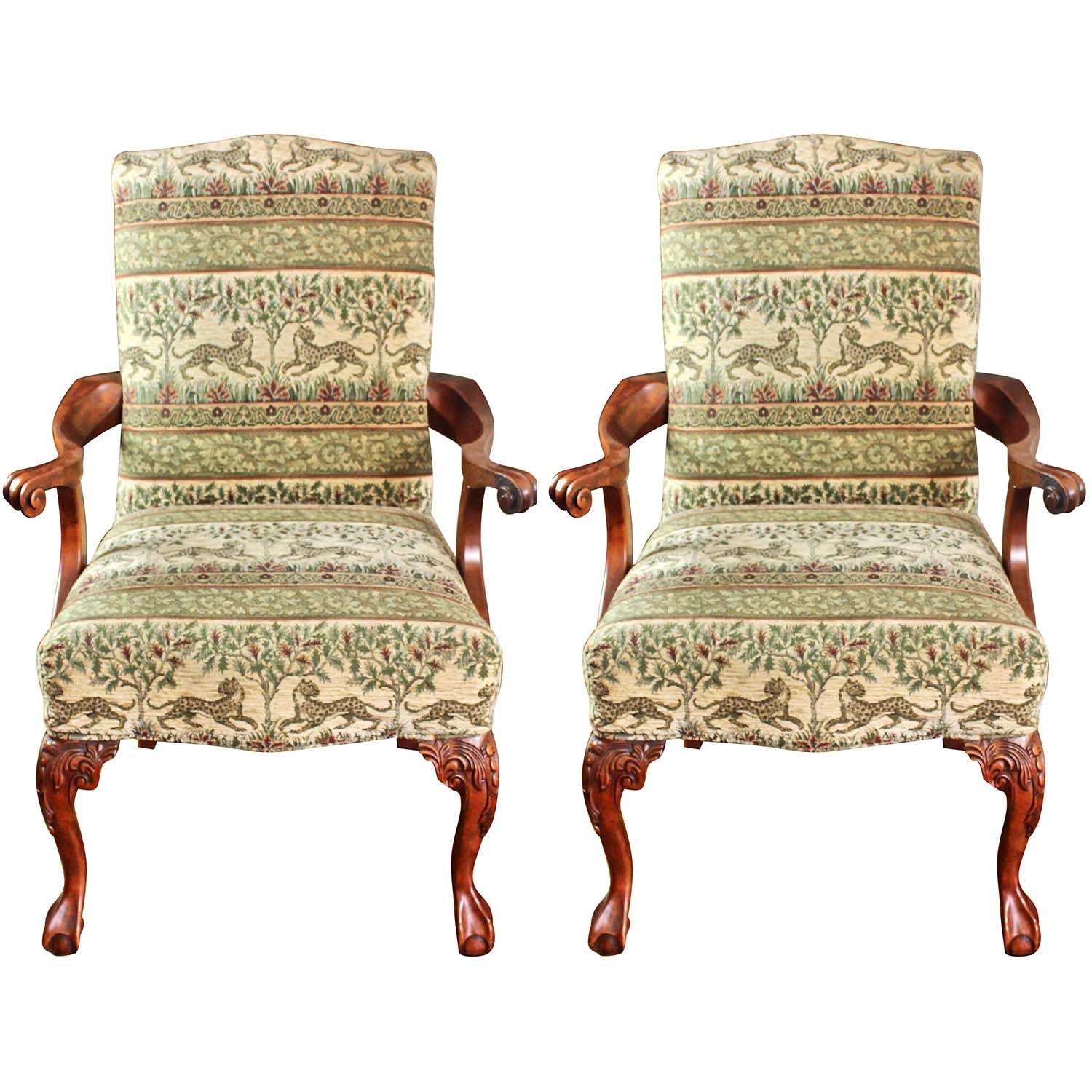Pair of Vintage Carved Ball-and-Claw Upholstered Armchairs