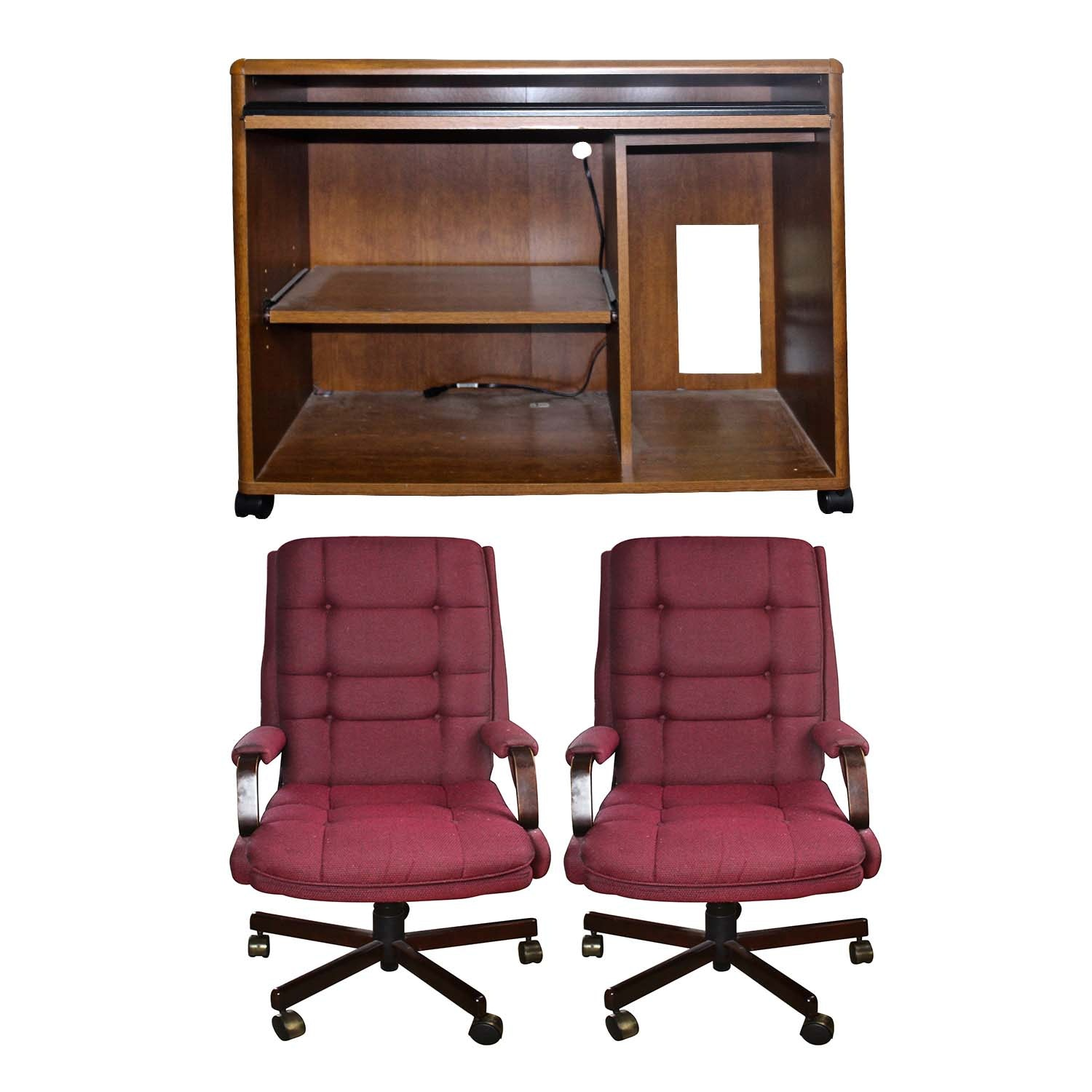 Computer Desk and Two  La-Z-Boy Adjustable Desk Chairs