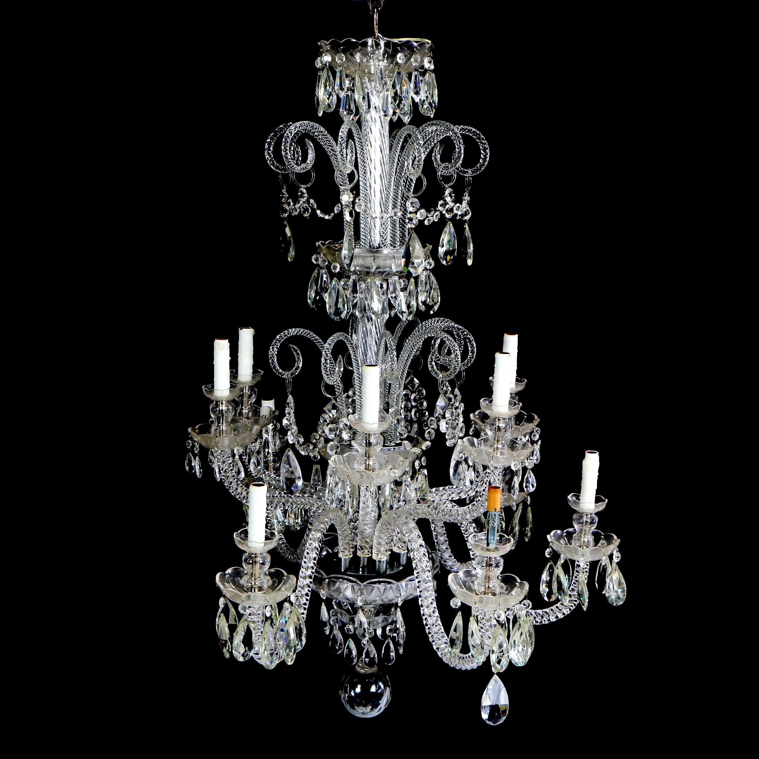 Venetian Style Twelve Light Glass Chandelier