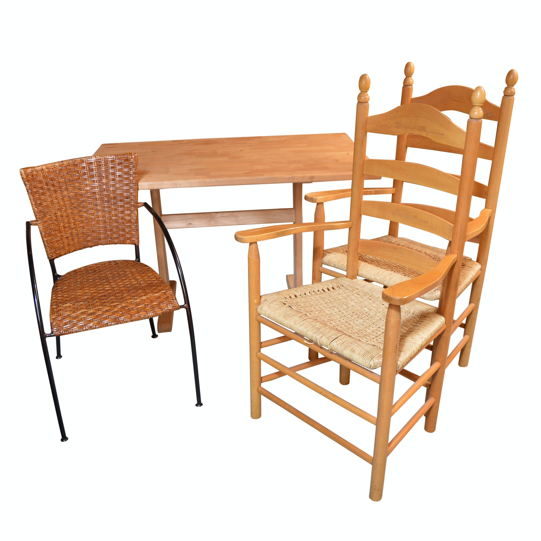 Furniture Group with Trestle Dining Table, Ladderback and Rattan Chairs