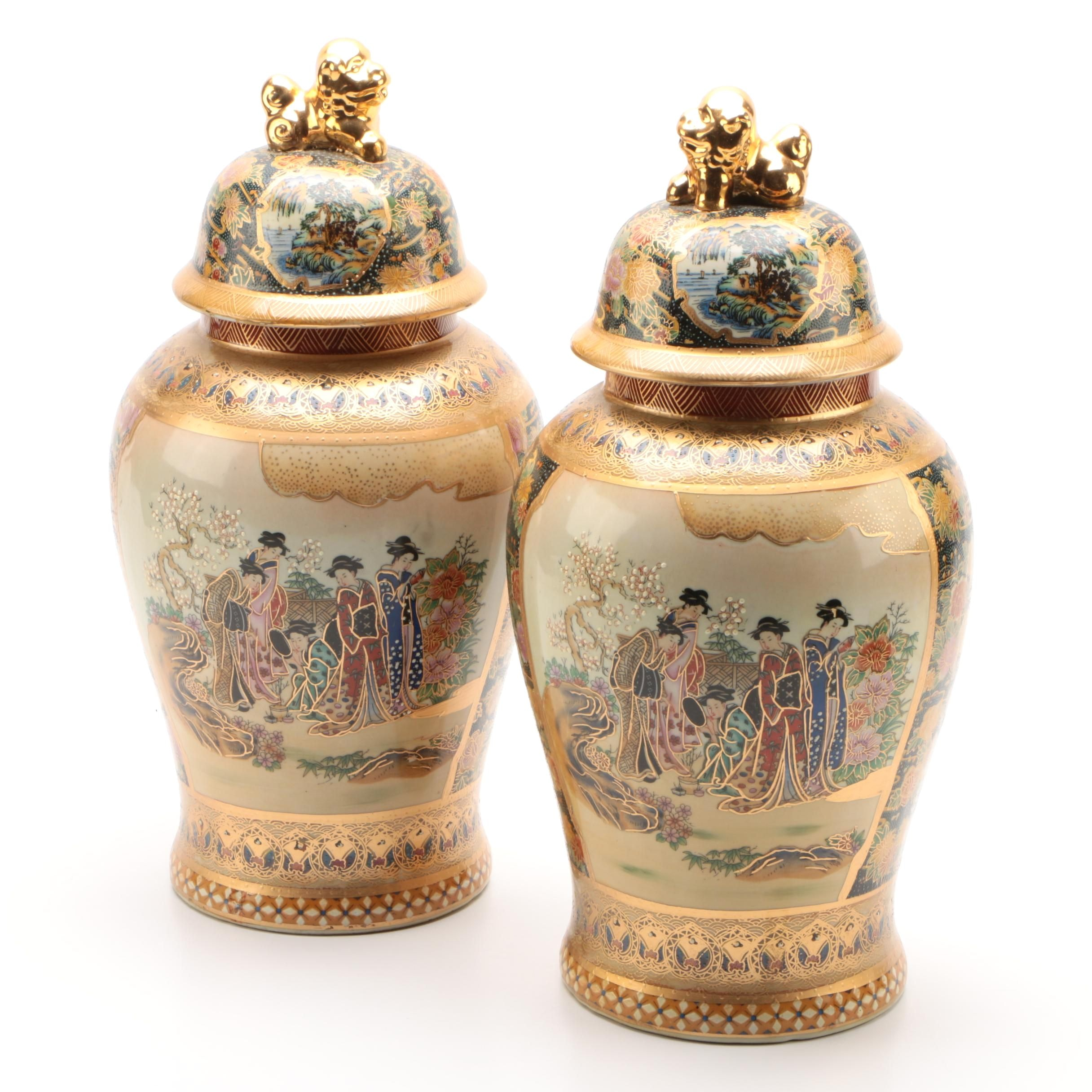 Chinese Satsuma Style Ceramic Ginger Jars with Guardian Lion Finials