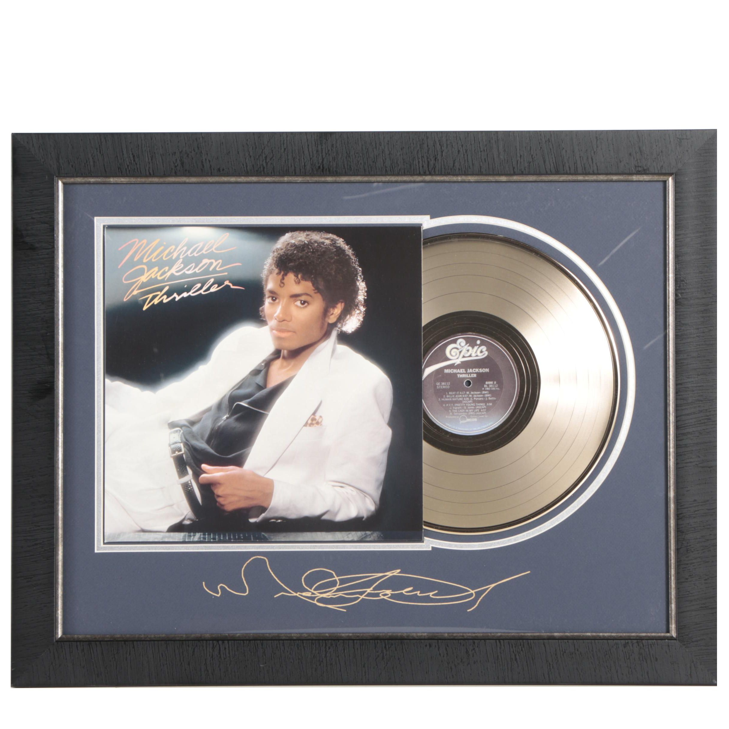 "Michael Jackson Reproduction ""Thriller"" Record Decor with Printed Autograph"