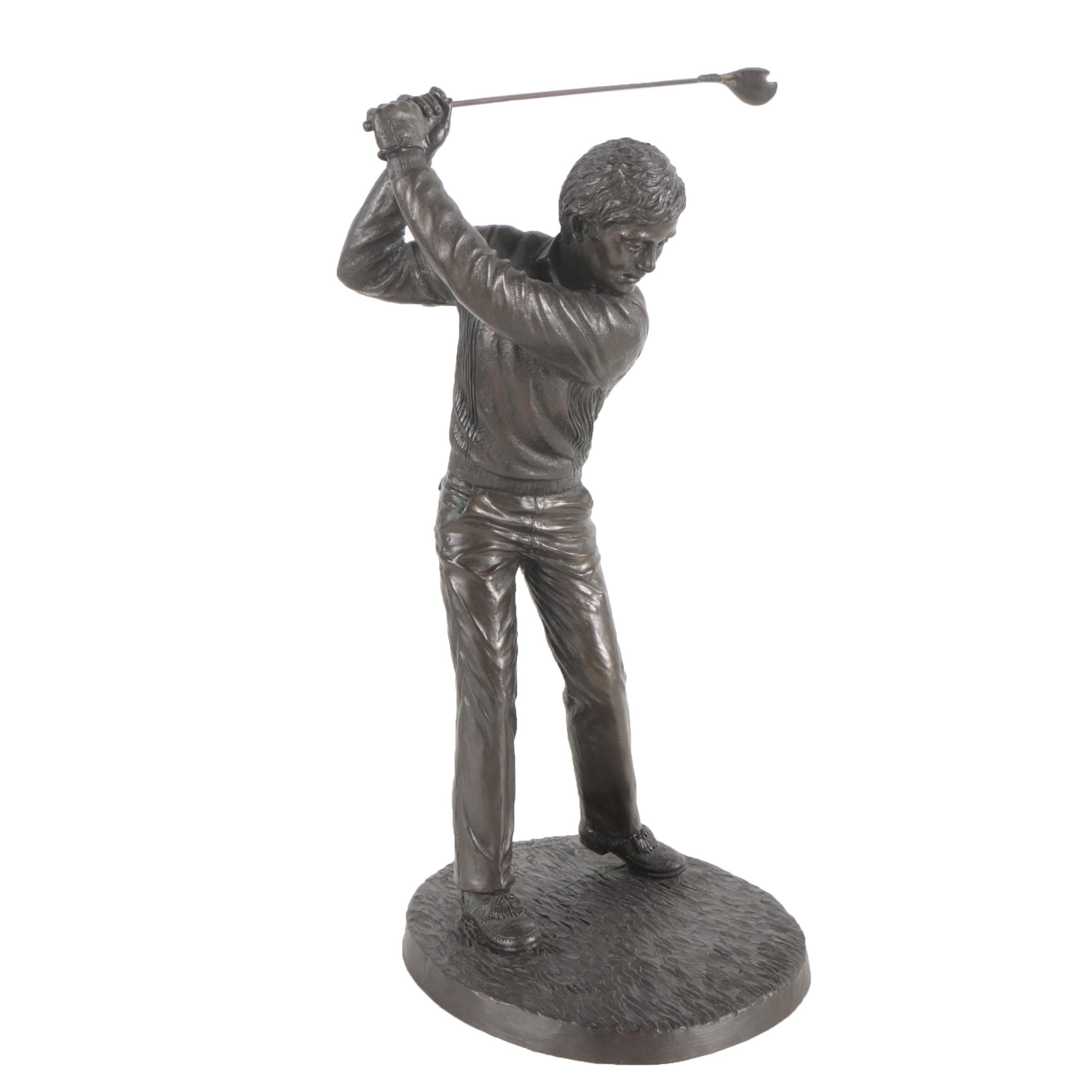 "Jeanne Rynhart Limited Edition Cold Cast Bronze Sculpture ""Backswing"""