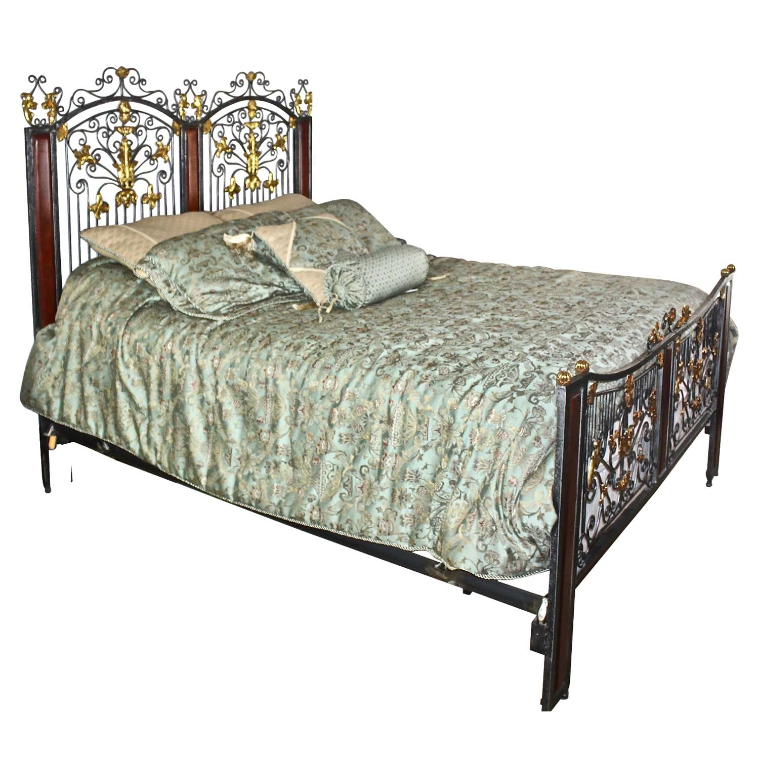 Vintage Iron and Wooden Queen Bed Frame