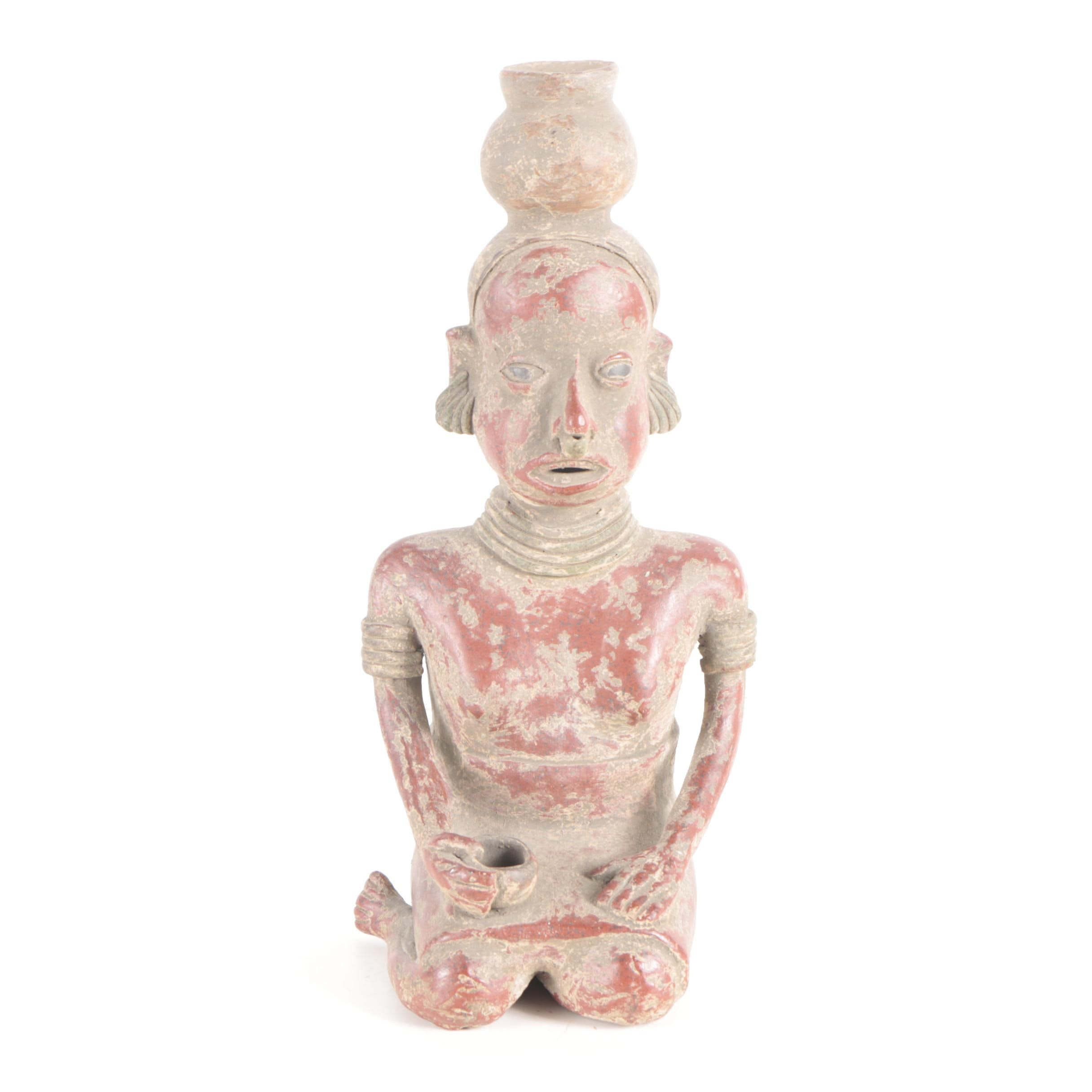 20th Century Nayarit Style Ceramic Sculpture of a Woman
