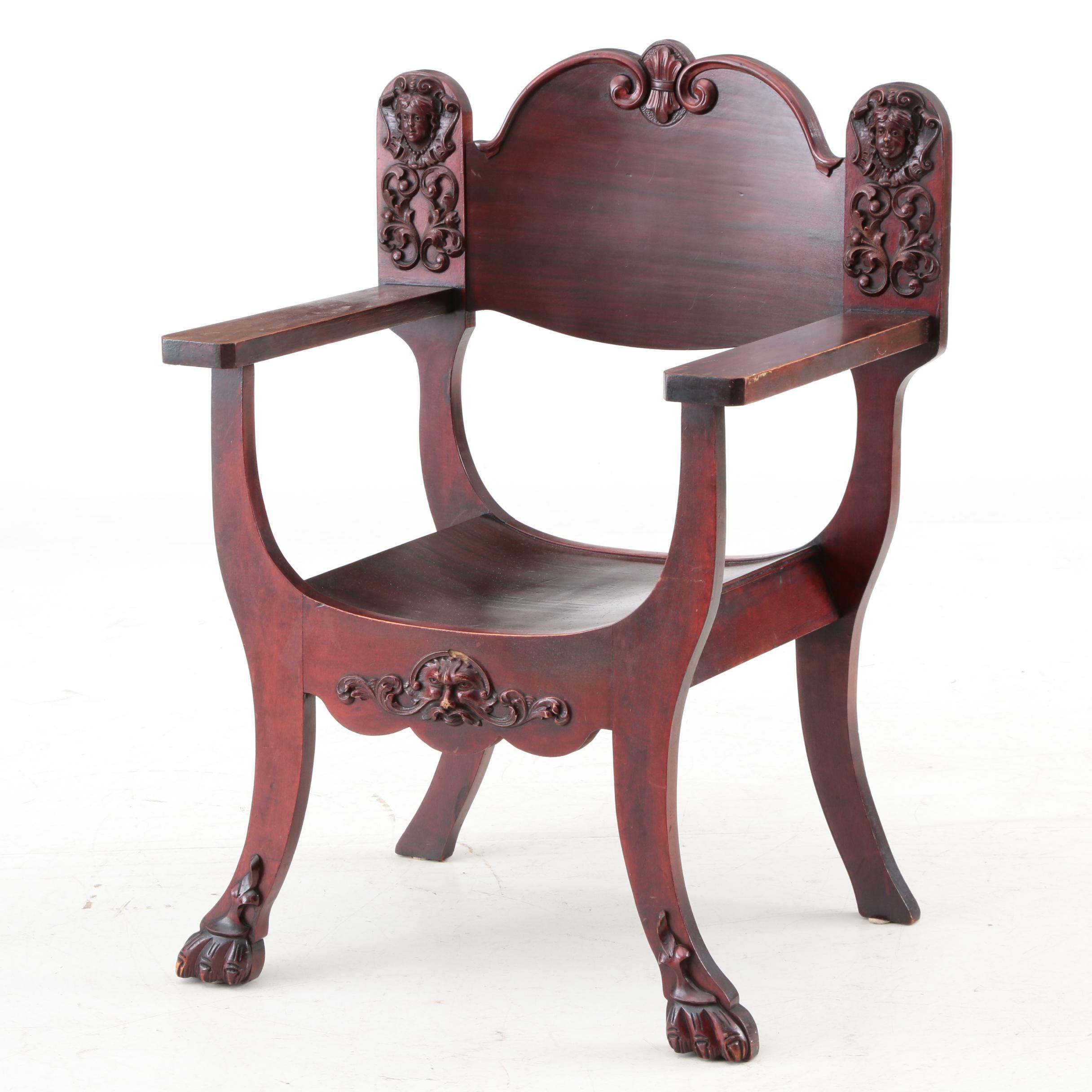 Vintage Figural Curule Style Chair