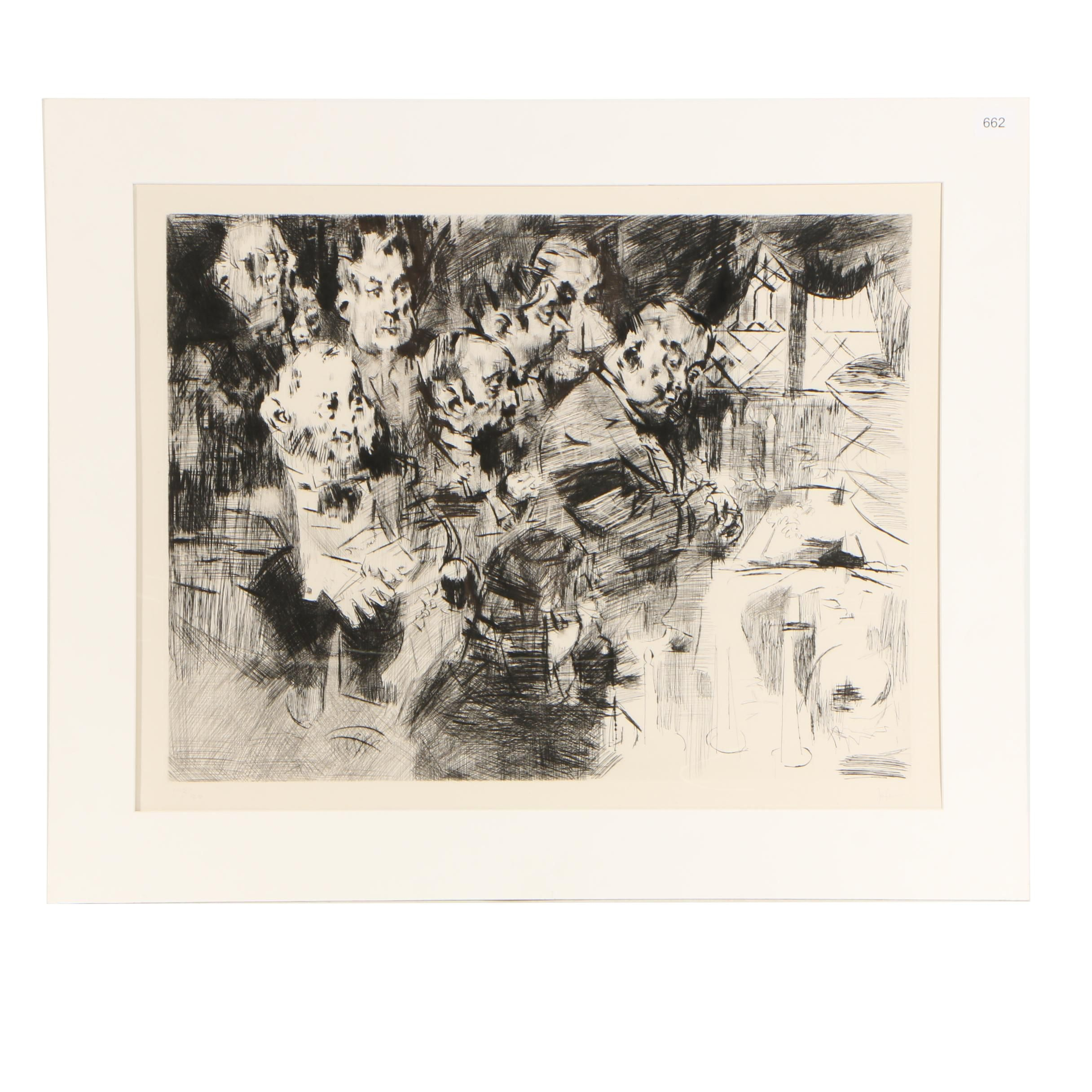 "Jack Levine Limited Edition Etching ""Gangster's Funeral"""