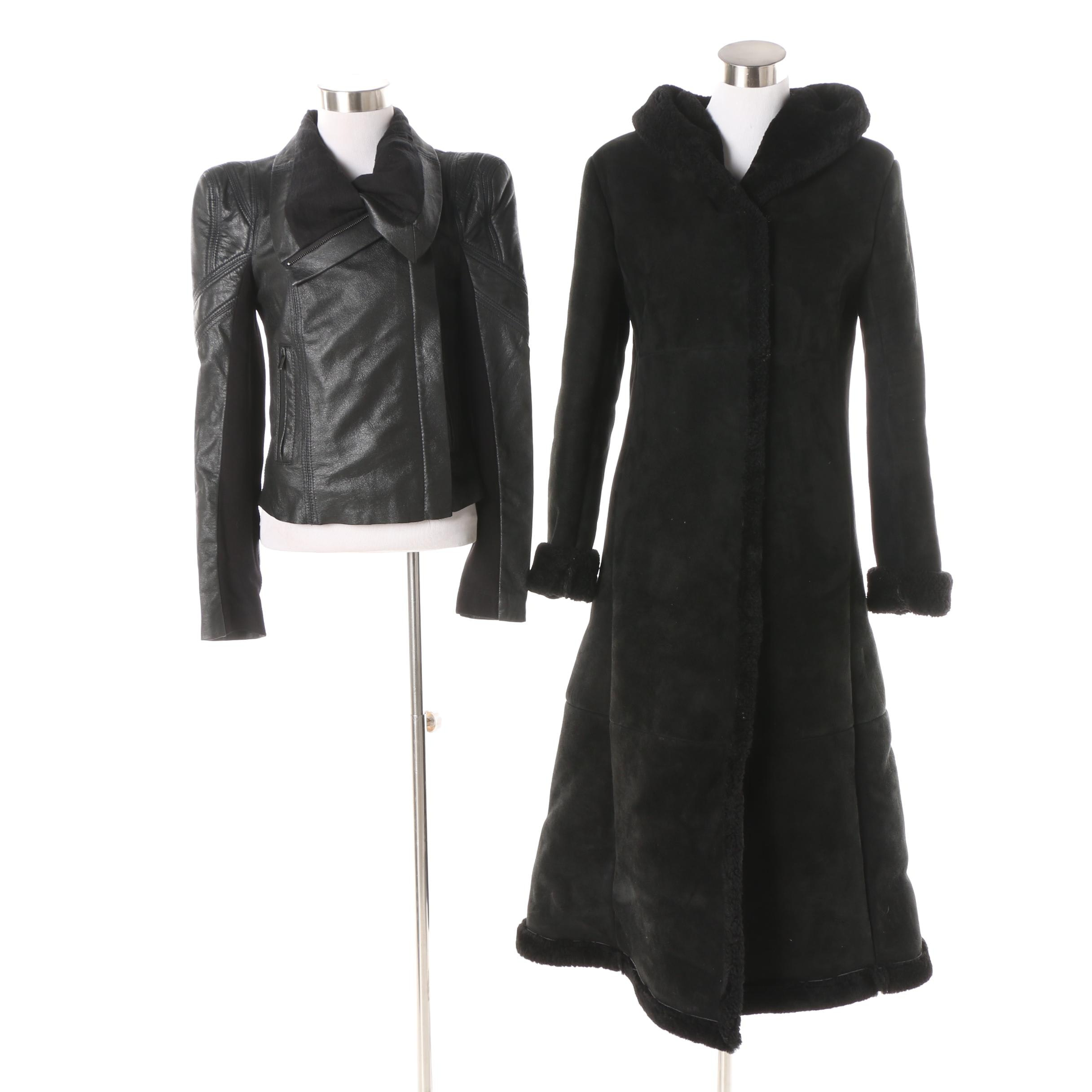 Women's BCBG Max Azria Leather Jacket and Shearling Lined Suede Coat