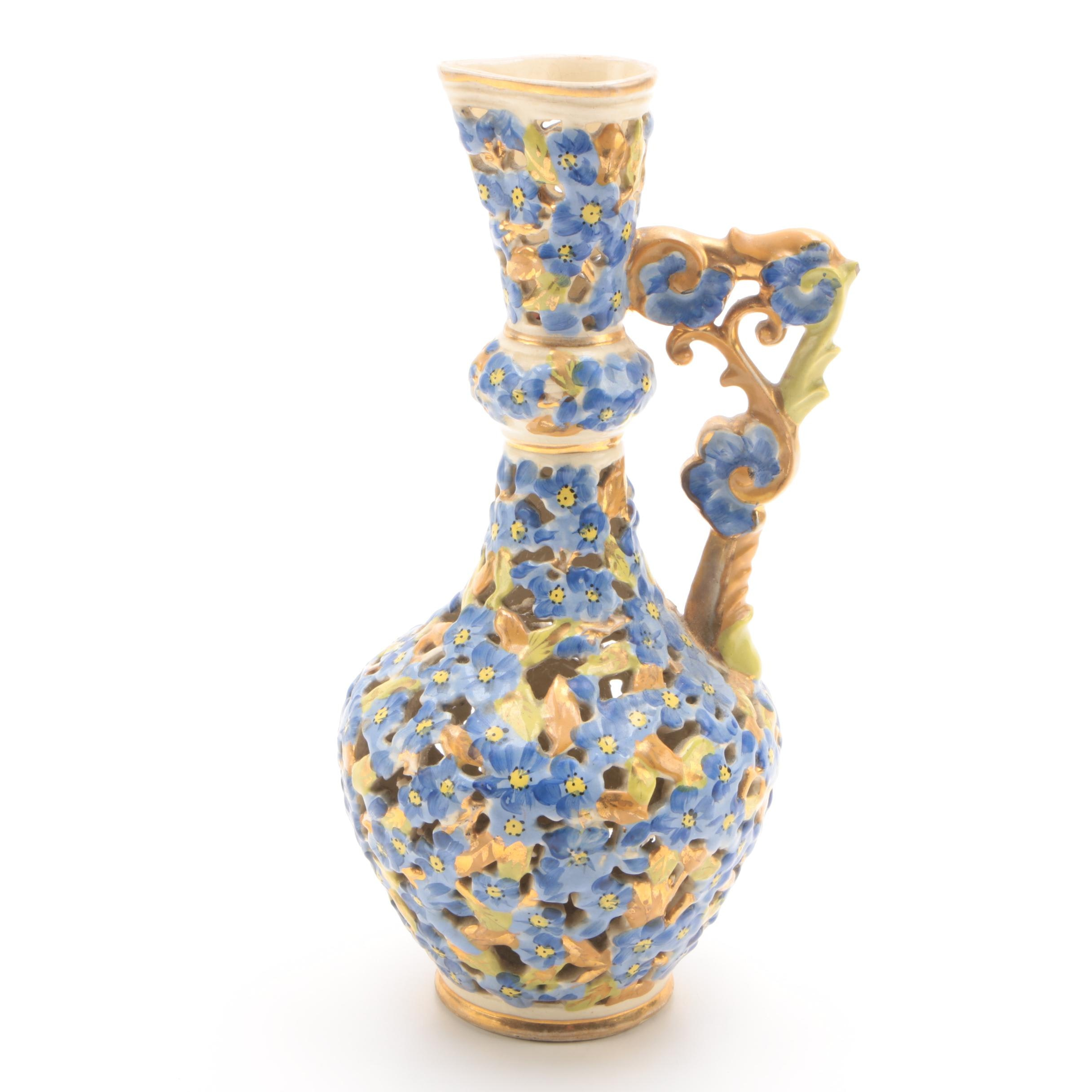 Late 19th-Century Fischer J. Hungarian Reticulated Ceramic Ewer