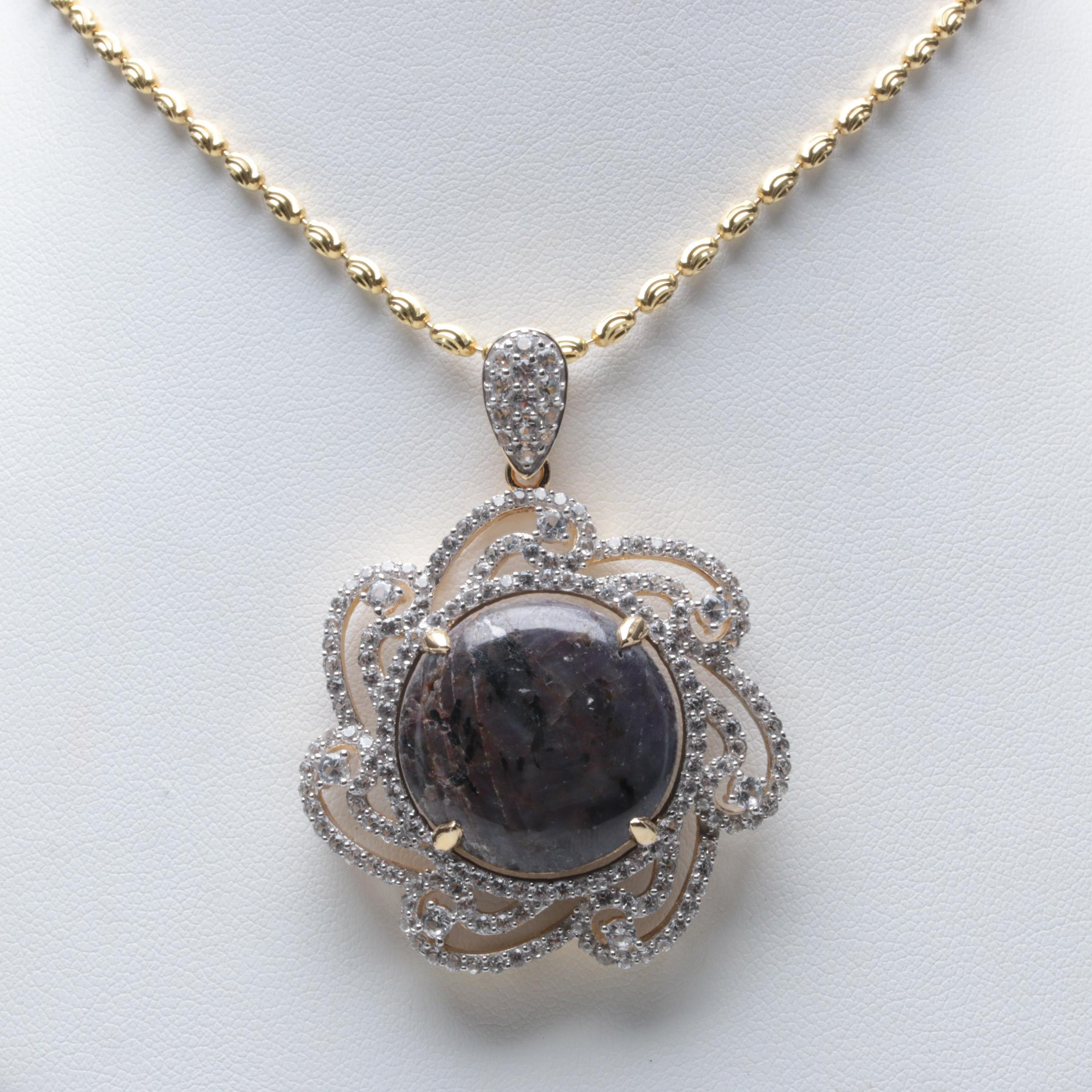 Gold Wash on Sterling Silver Corundum and White Sapphire Necklace