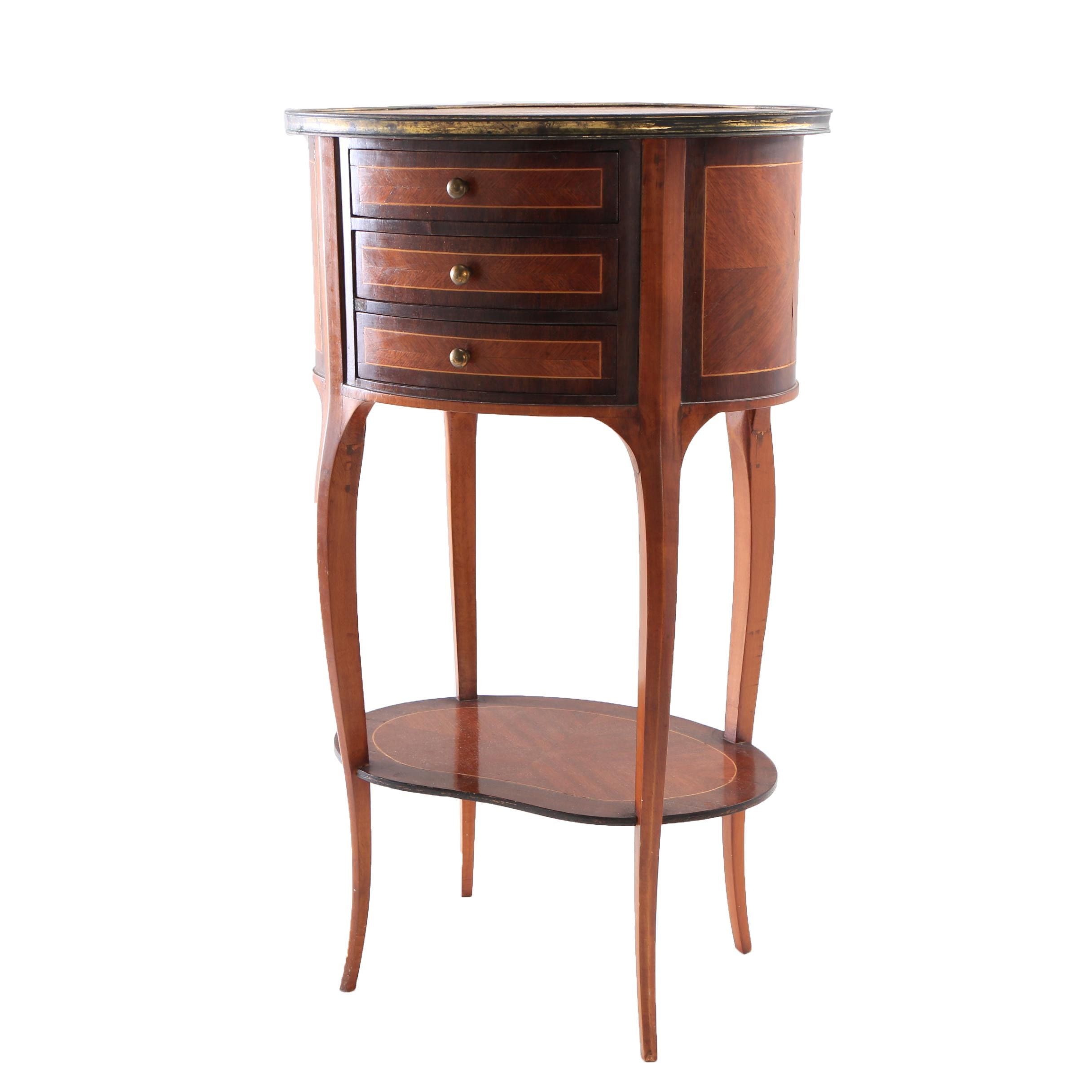 Louis XV Style Matched Veneer Side Table