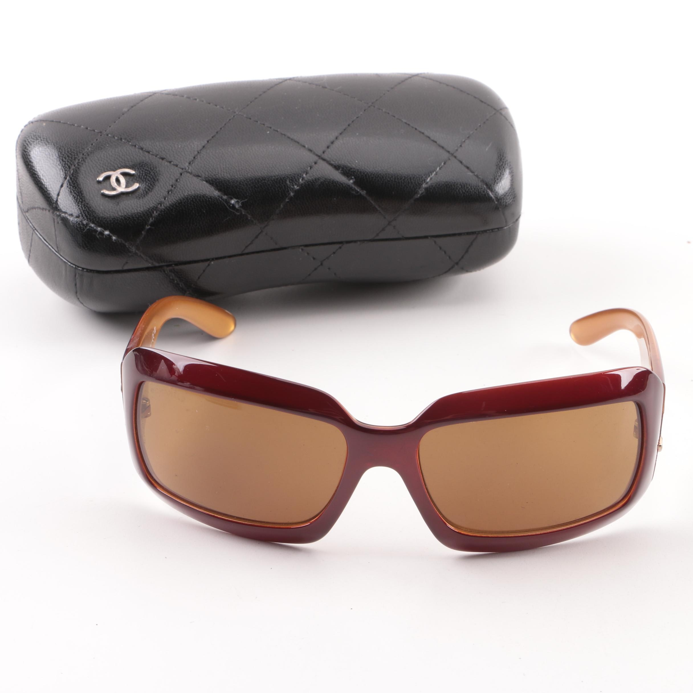 Chanel 6022-Q Wrap Sunglasses with Case