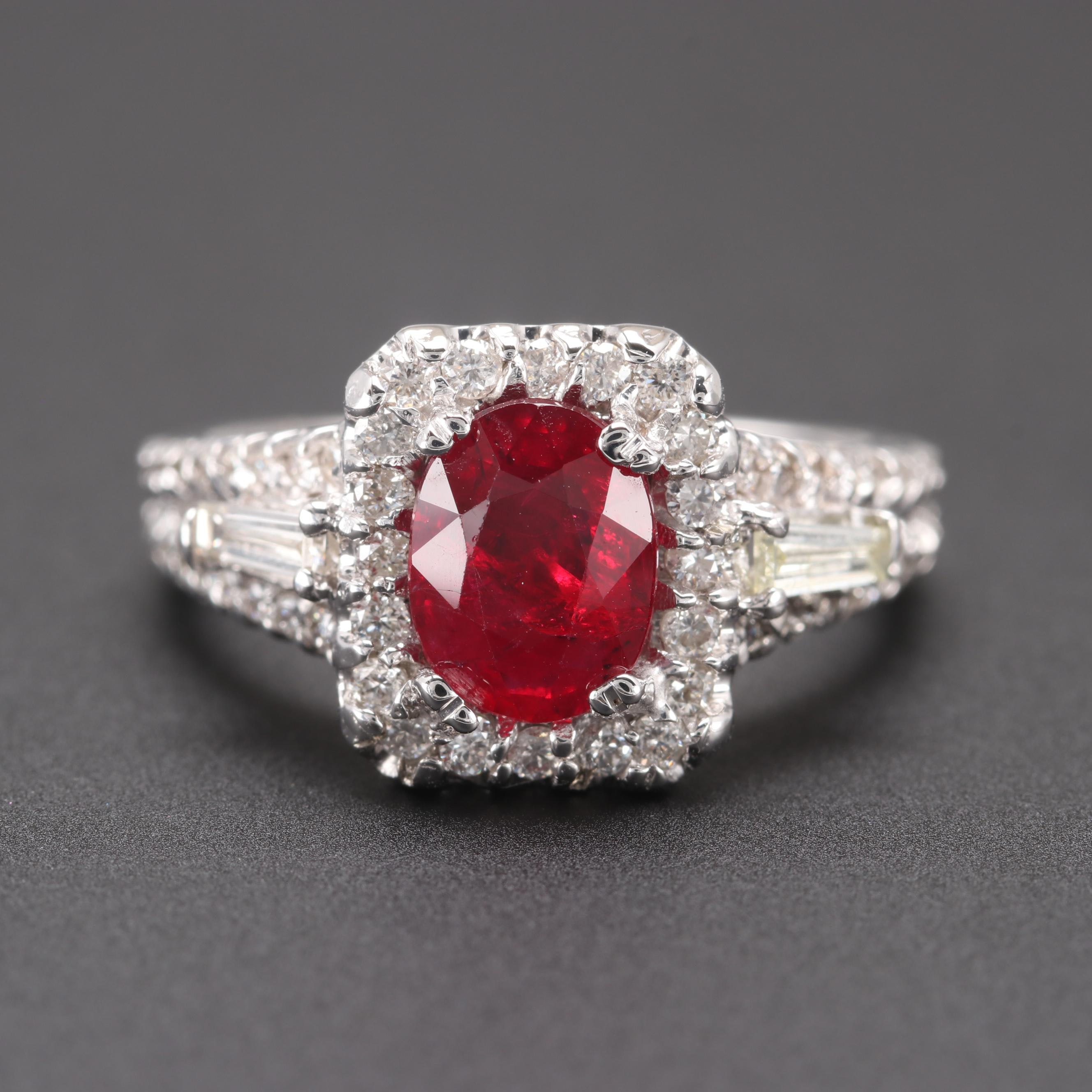 14K White Gold 1.08 CT Ruby and Diamond Ring