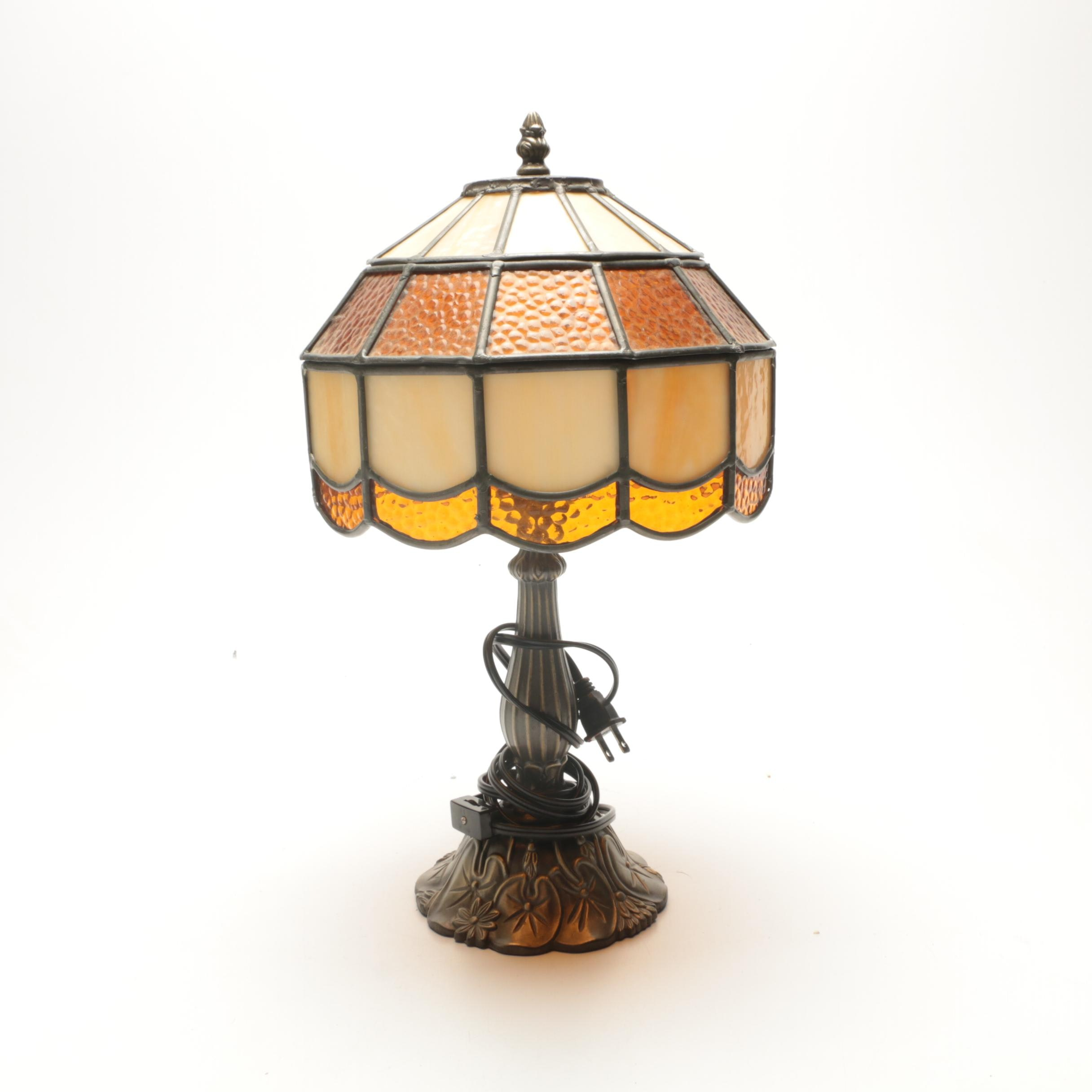 Metal Table Lamp with Glass Shade