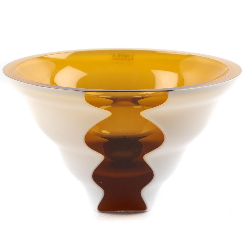 Libera Art Glass Modernist Centerpiece Bowl