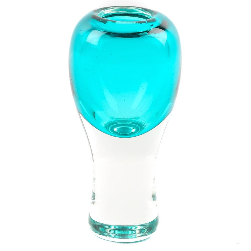 Signed David Wilson Art Glass Bud Vase