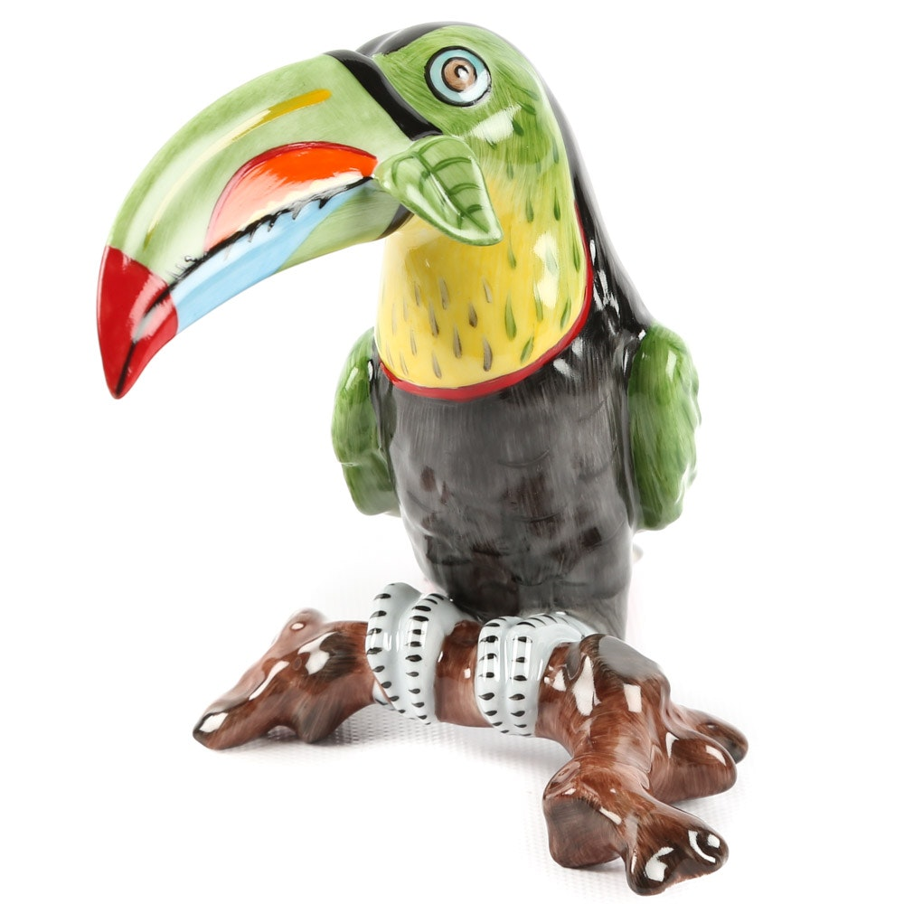 Hollóháza Hungary Porcelain Toucan Figurine by Lynn Chase
