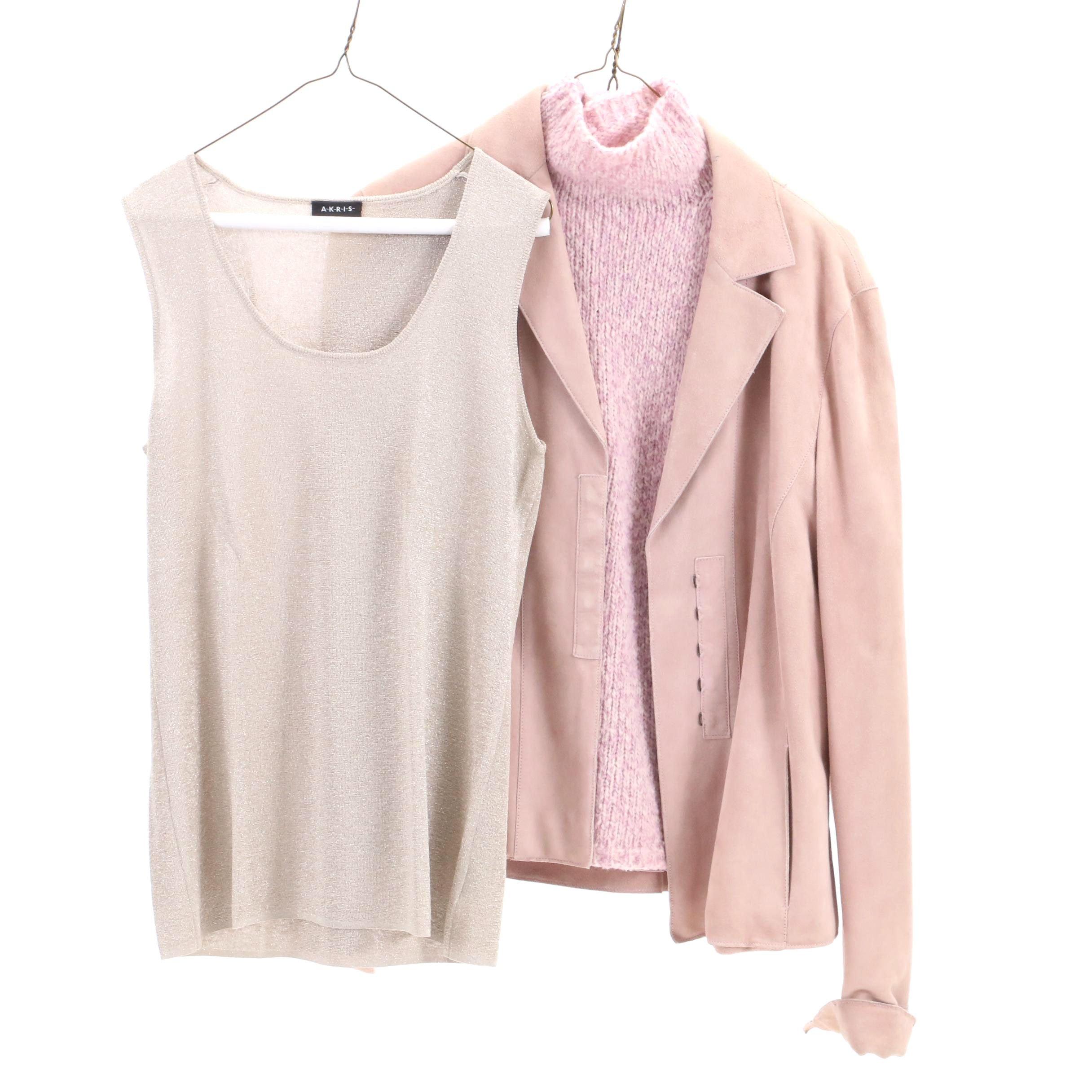 Akris Punto Lambskin Jacket and Knit Shirts