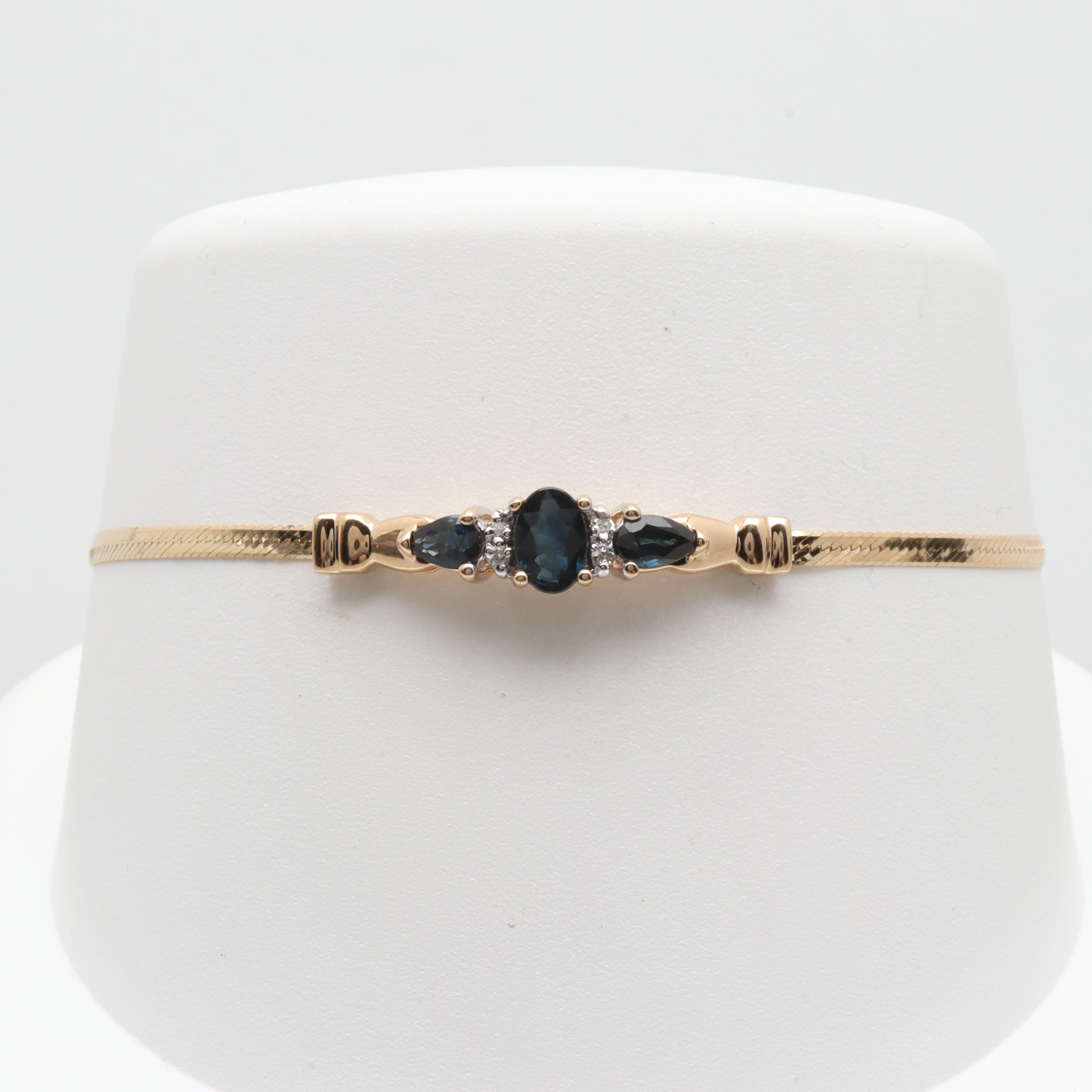 Alwand Vahan 14K Yellow Gold Sapphire and Diamond Bracelet