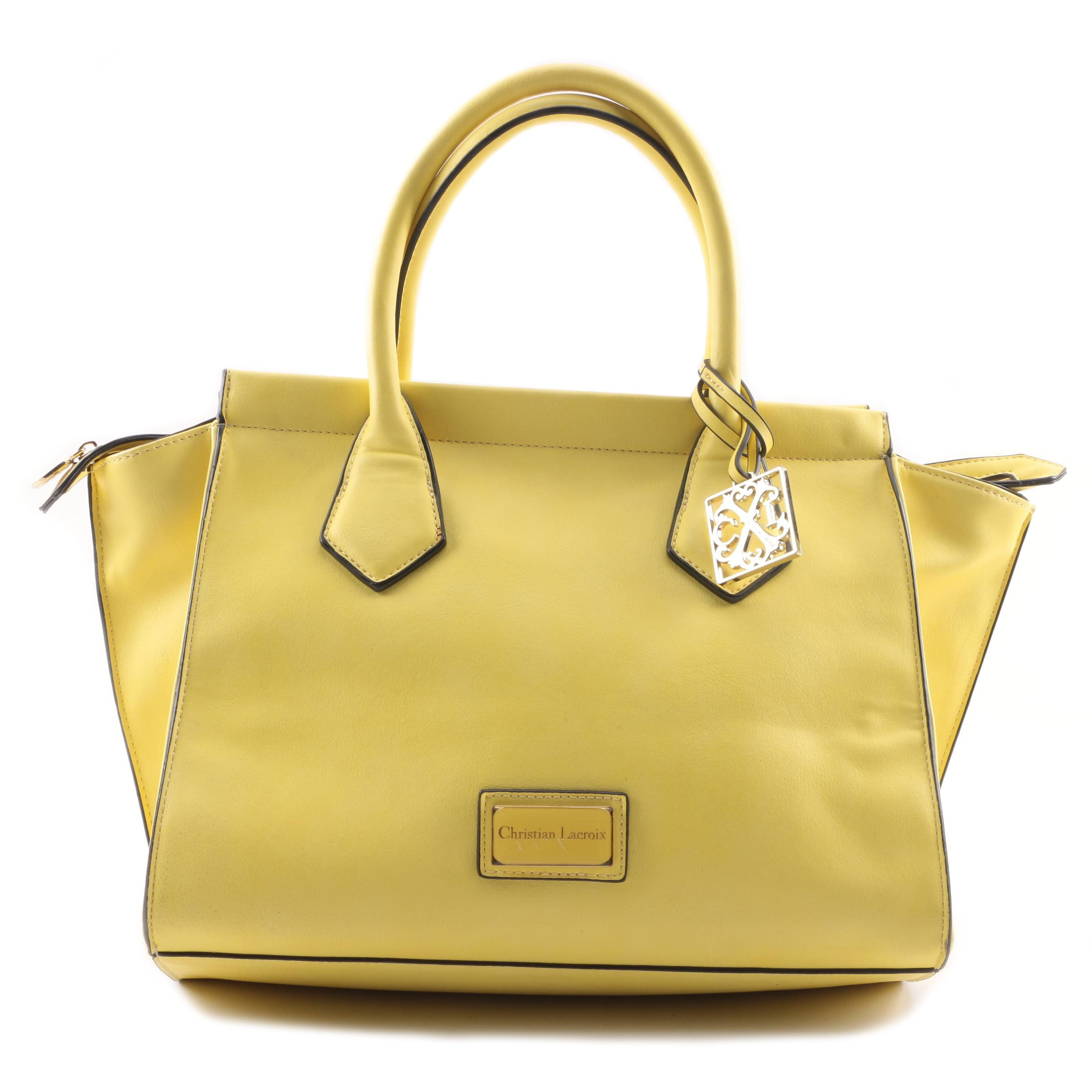 Christian Lacroix Yellow Faux Leather Trapeze Bag