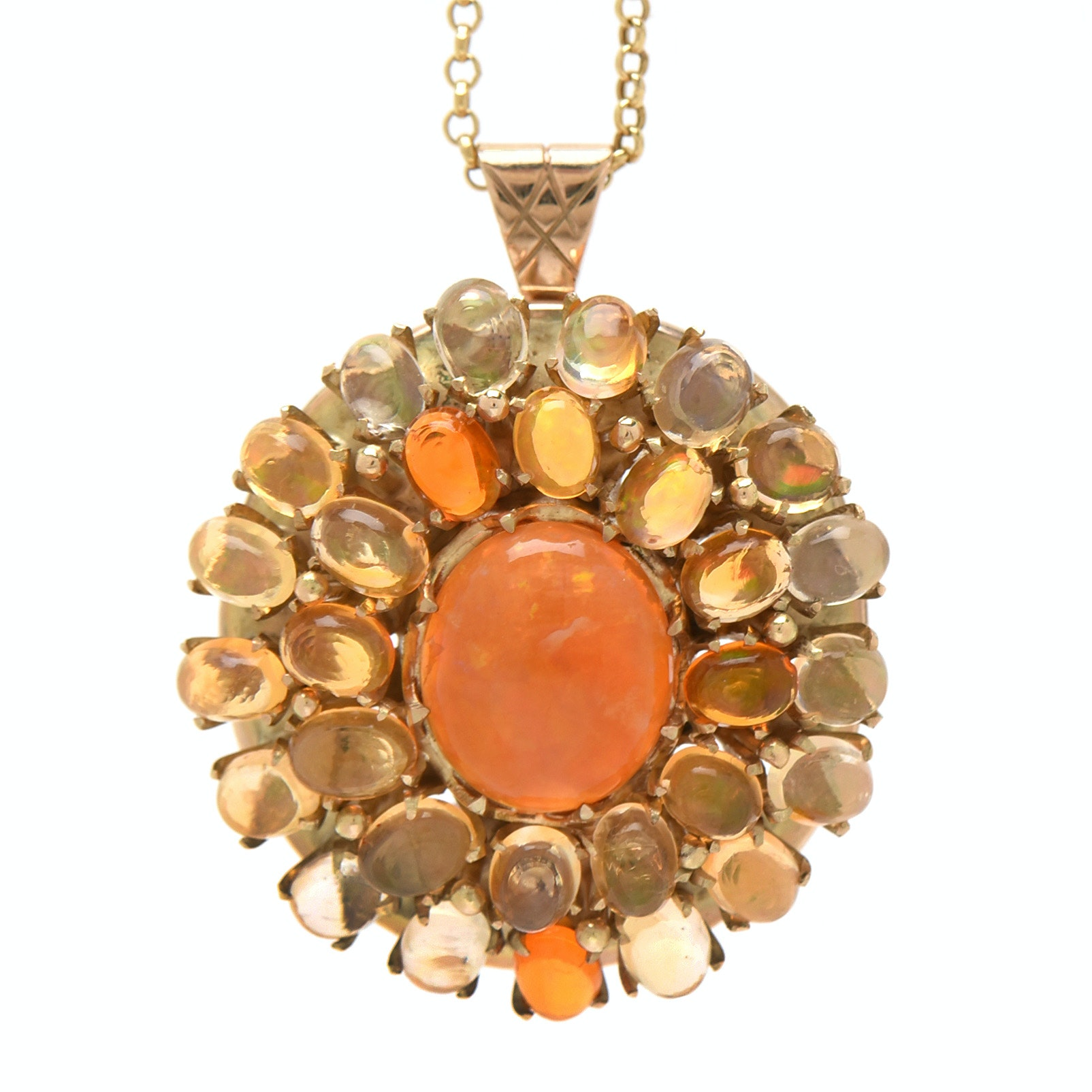 14K Yellow Gold Fire Jelly Opal Pendant Necklace
