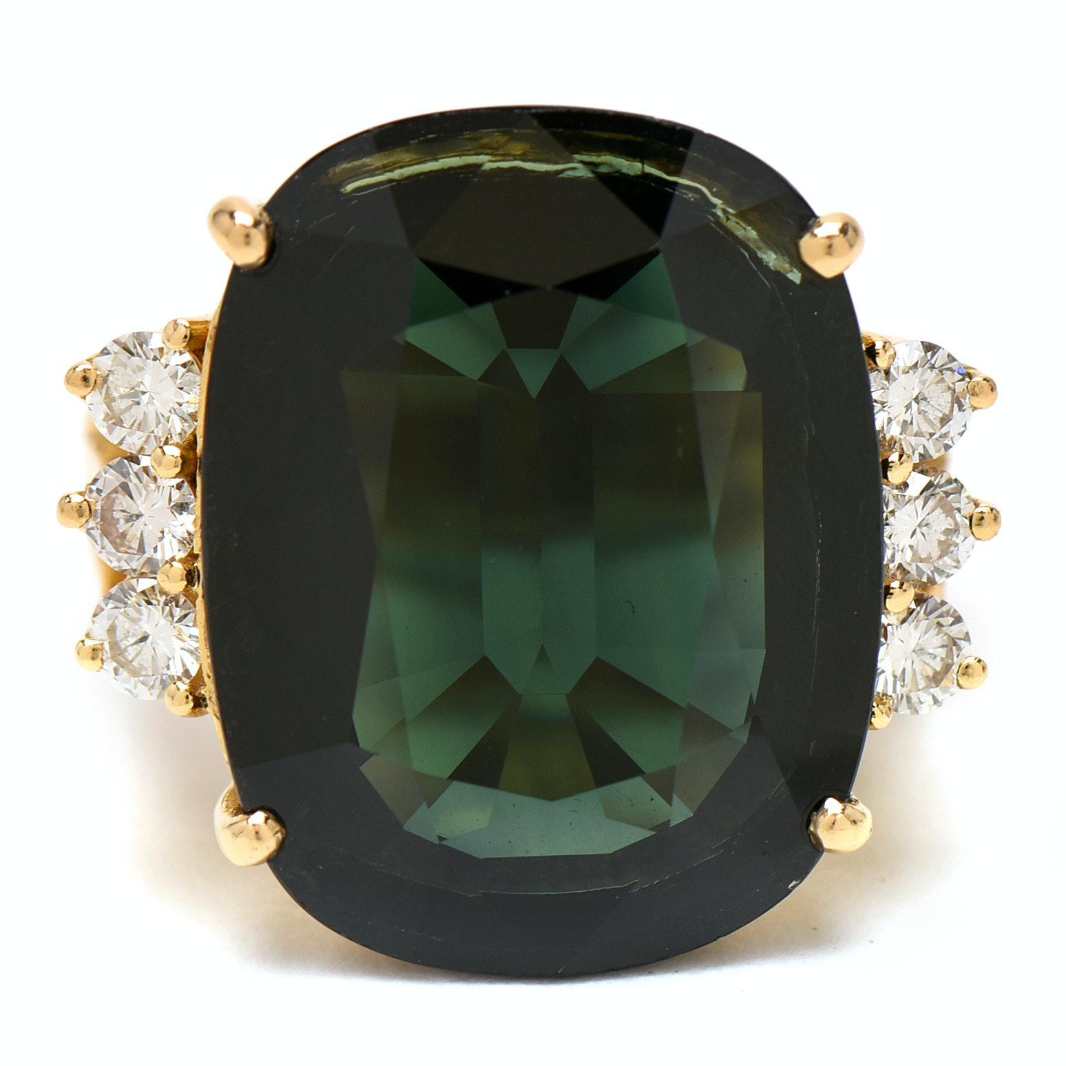 18K Yellow Gold 17.49 CT Sapphire and Diamond Statement Ring
