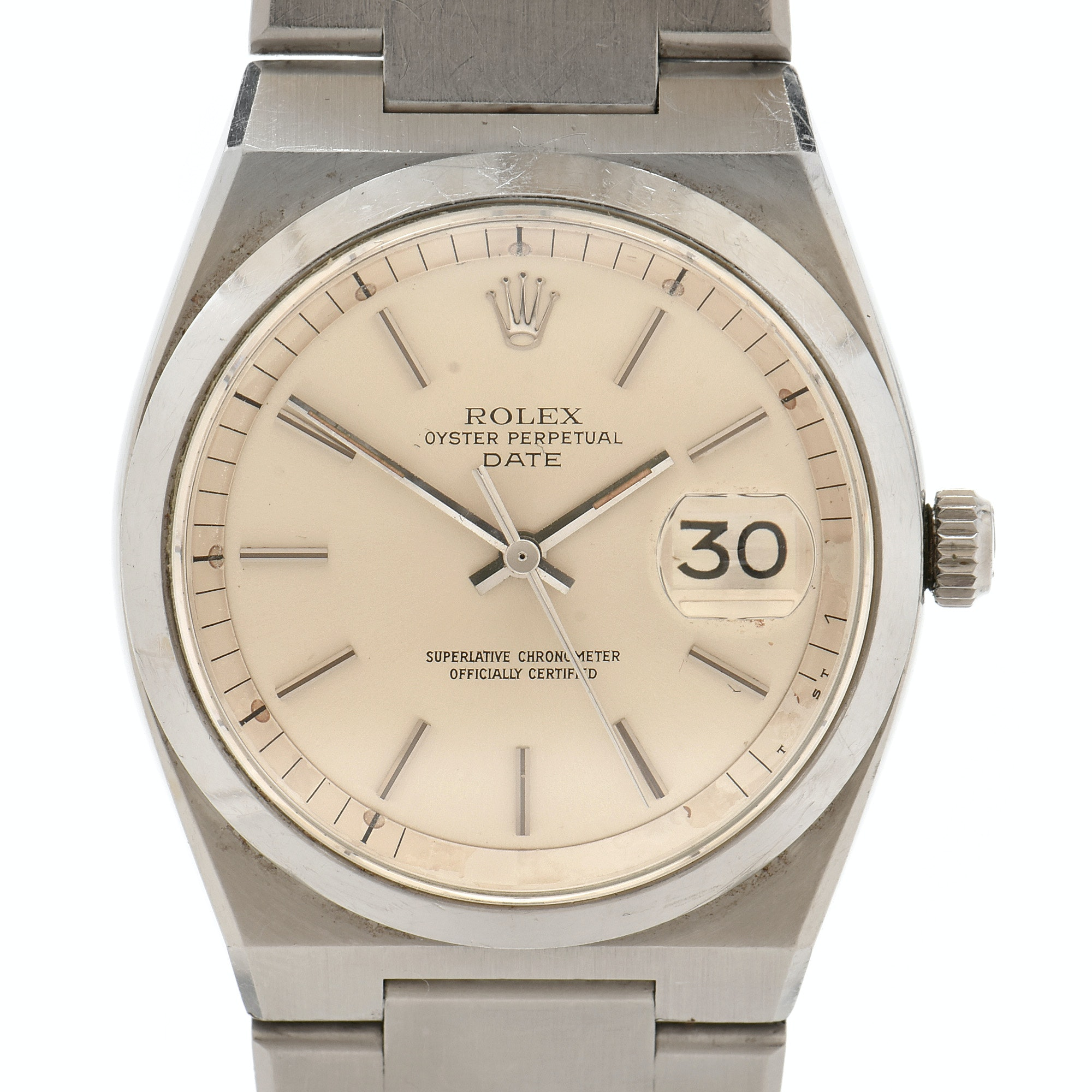 Rare 1976 Rolex Date 1530 Automatic Stainless Steel Wristwatch