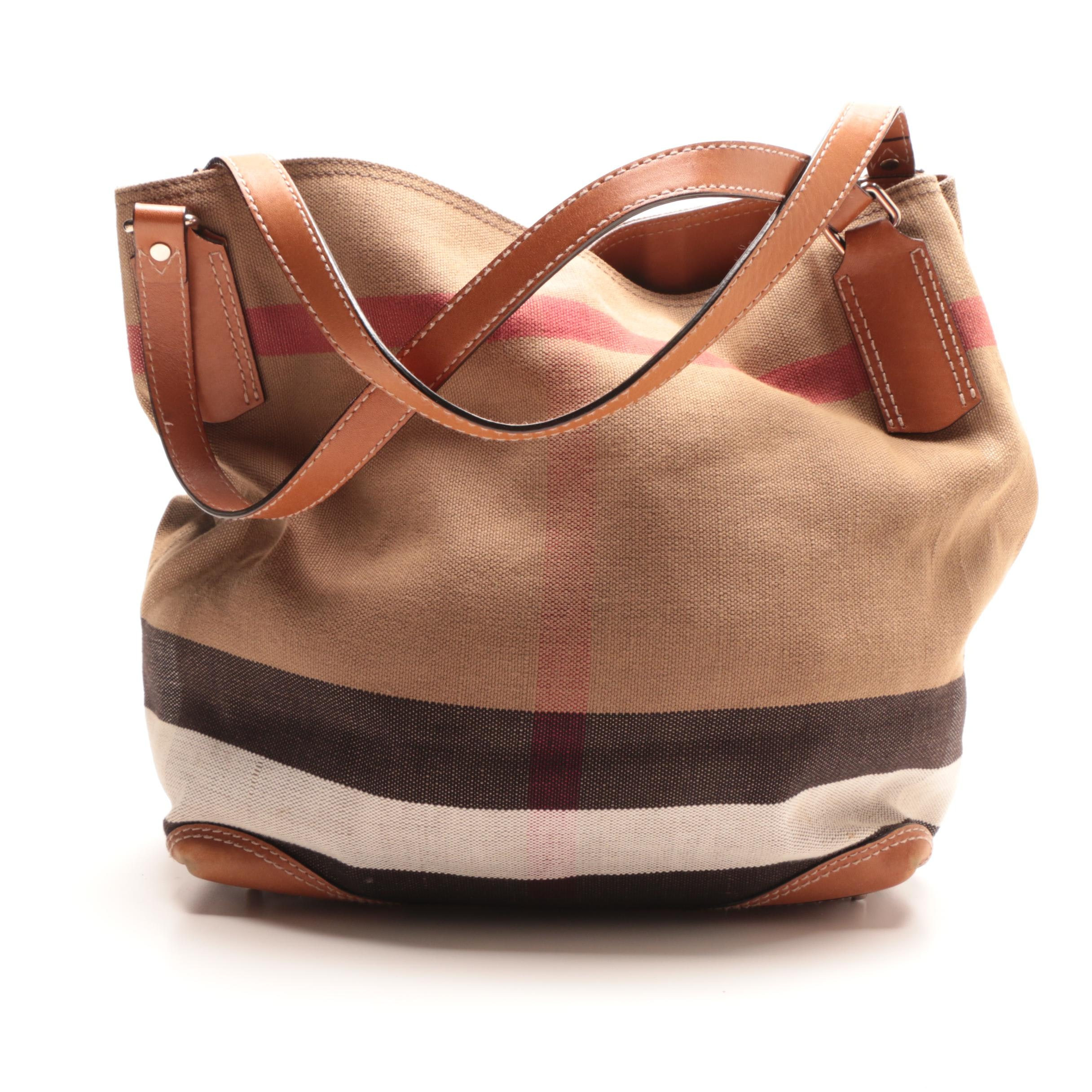 Burberry Check Canvas and Leather Tote Bag