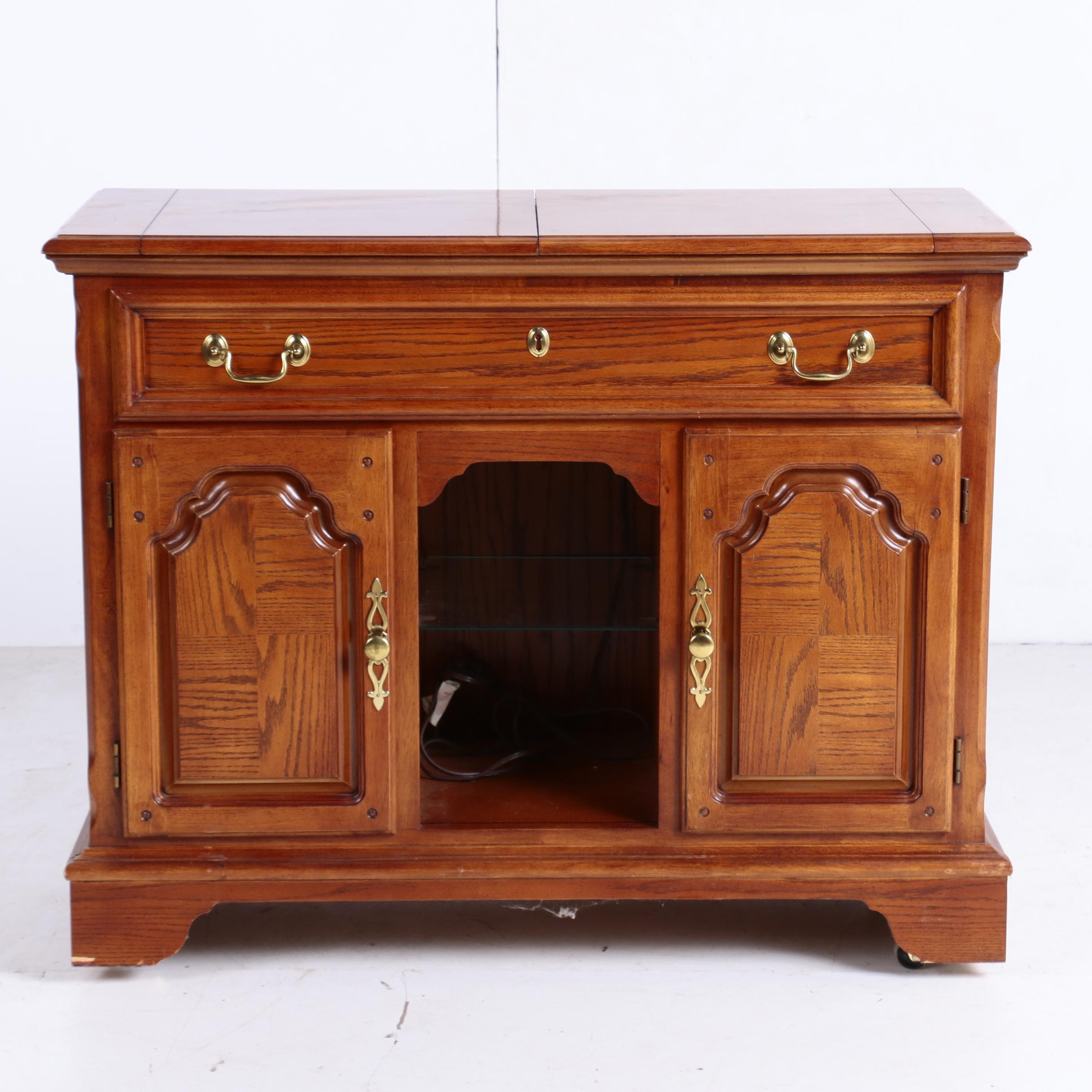 George III Style Oak-Veneered Flip-Top Server by Lexington, 20th Century