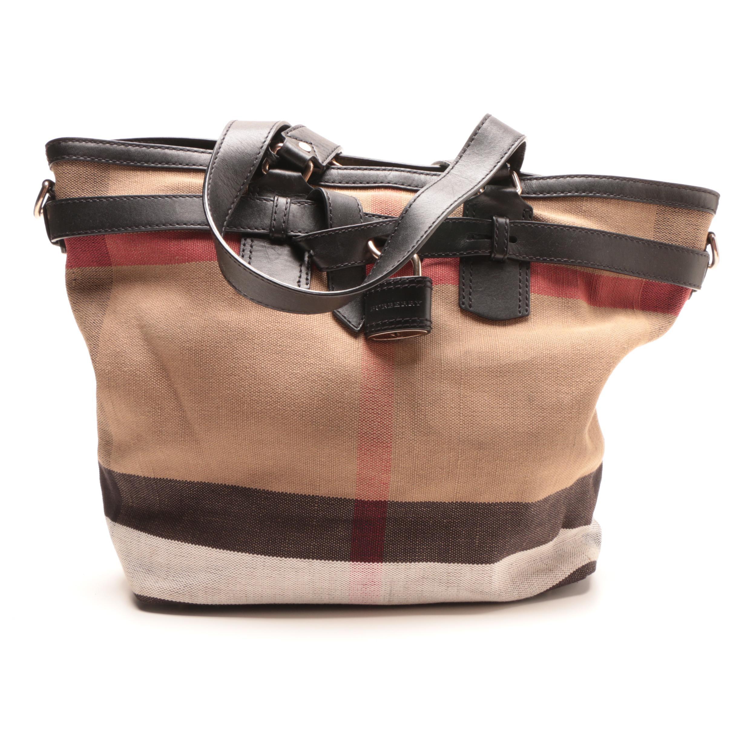 Burberry Check Canvas Padlock Tote Bag