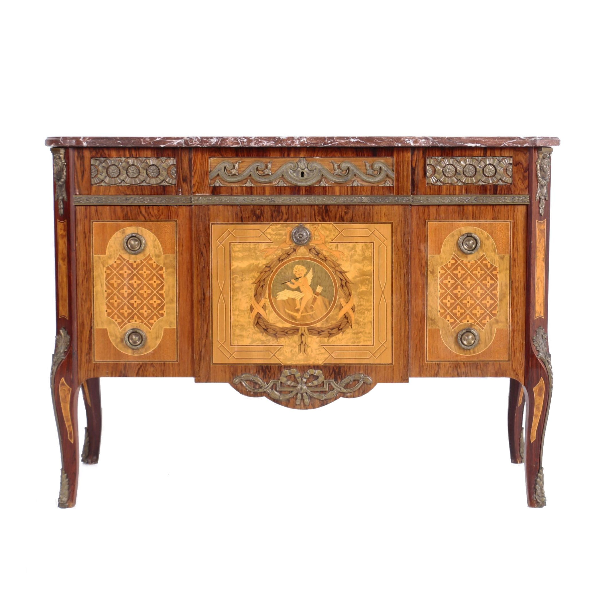 Louis XVI Style Brass-Mounted Kingwood and Marquetry Commode, 20th Century