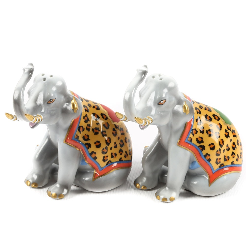 "Lynn Chase ""Tiger Raj"" Salt and Pepper Set for Hollóháza Hungary"