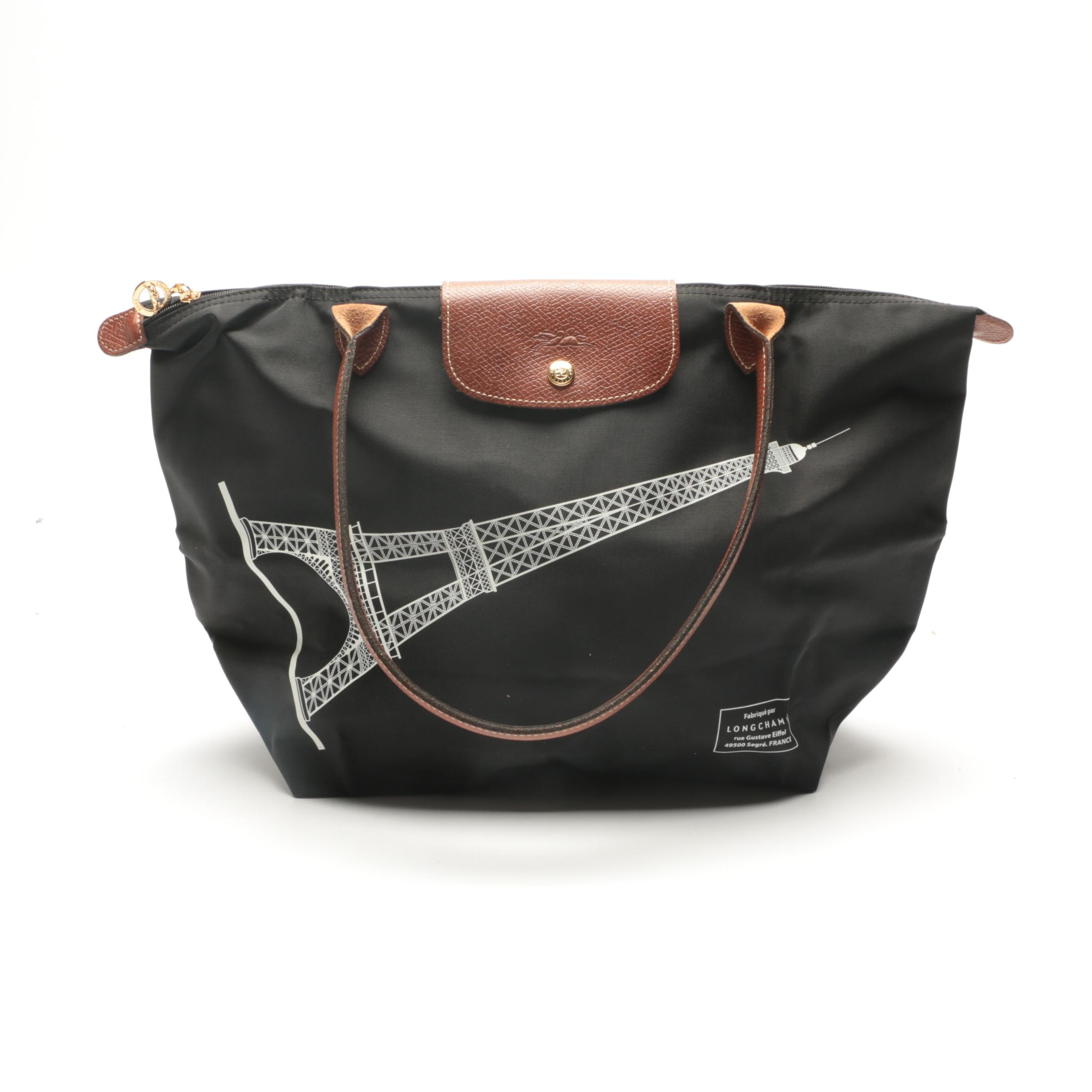 Longchamp Limited Edition Eiffel Tower Le Pliage Medium Tote Bag