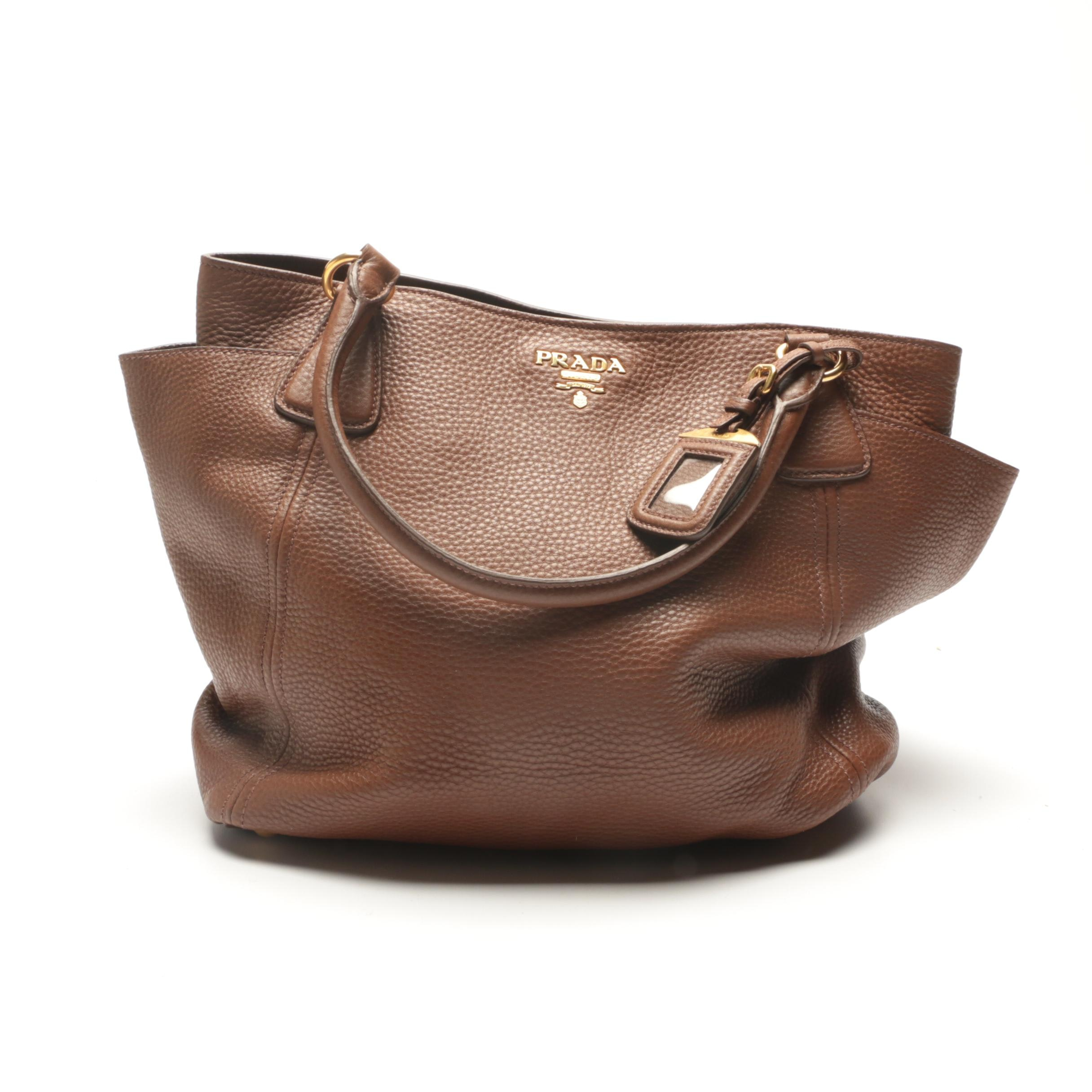 Prada Brown Pebbled Leather Satchel
