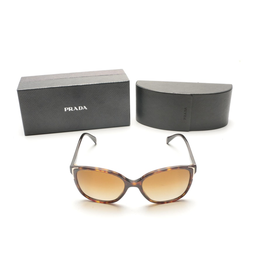 3448ec0a5d Prada Tortoiseshell Style Polarized Sunglasses   EBTH