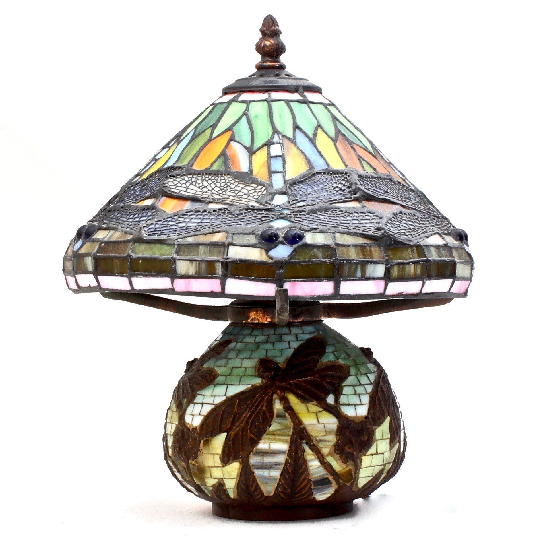 Vintage Tiffany Style Stained Glass Dragonfly Table Lamp