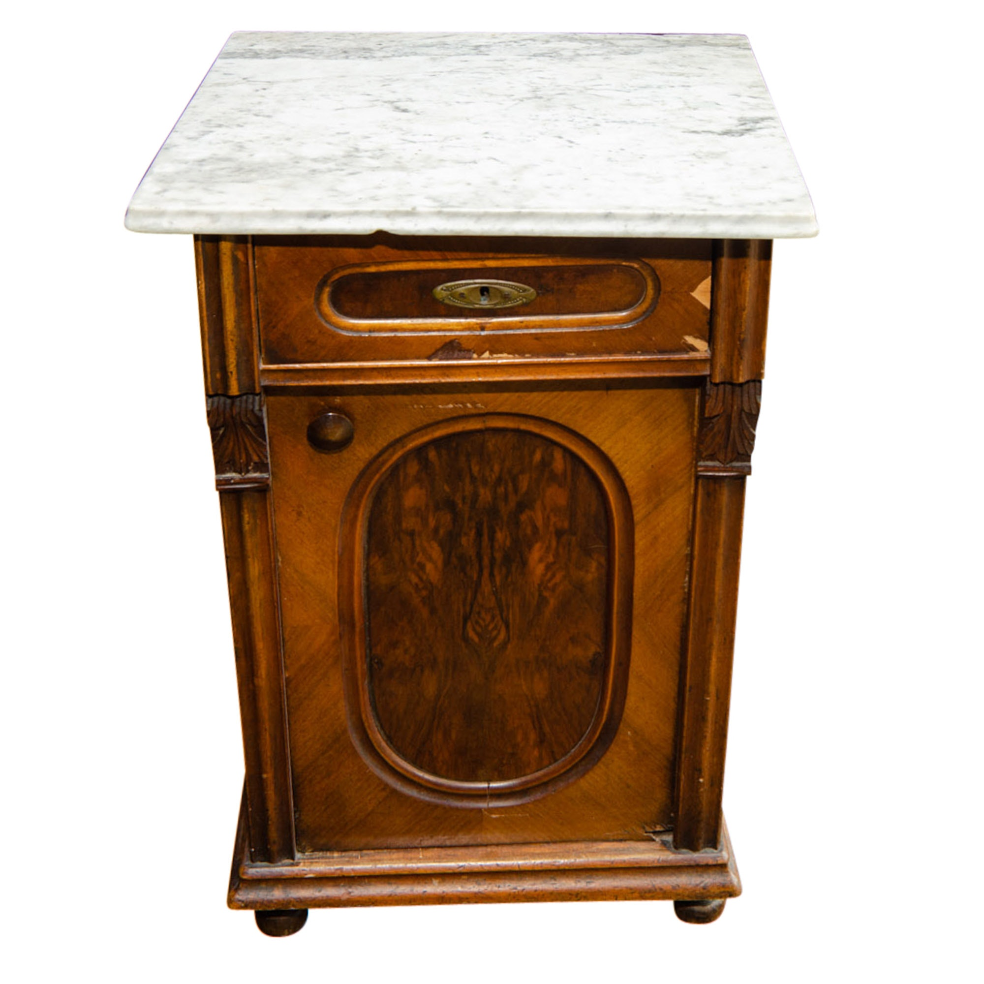 Antique Marble Topped Bedside Cabinet
