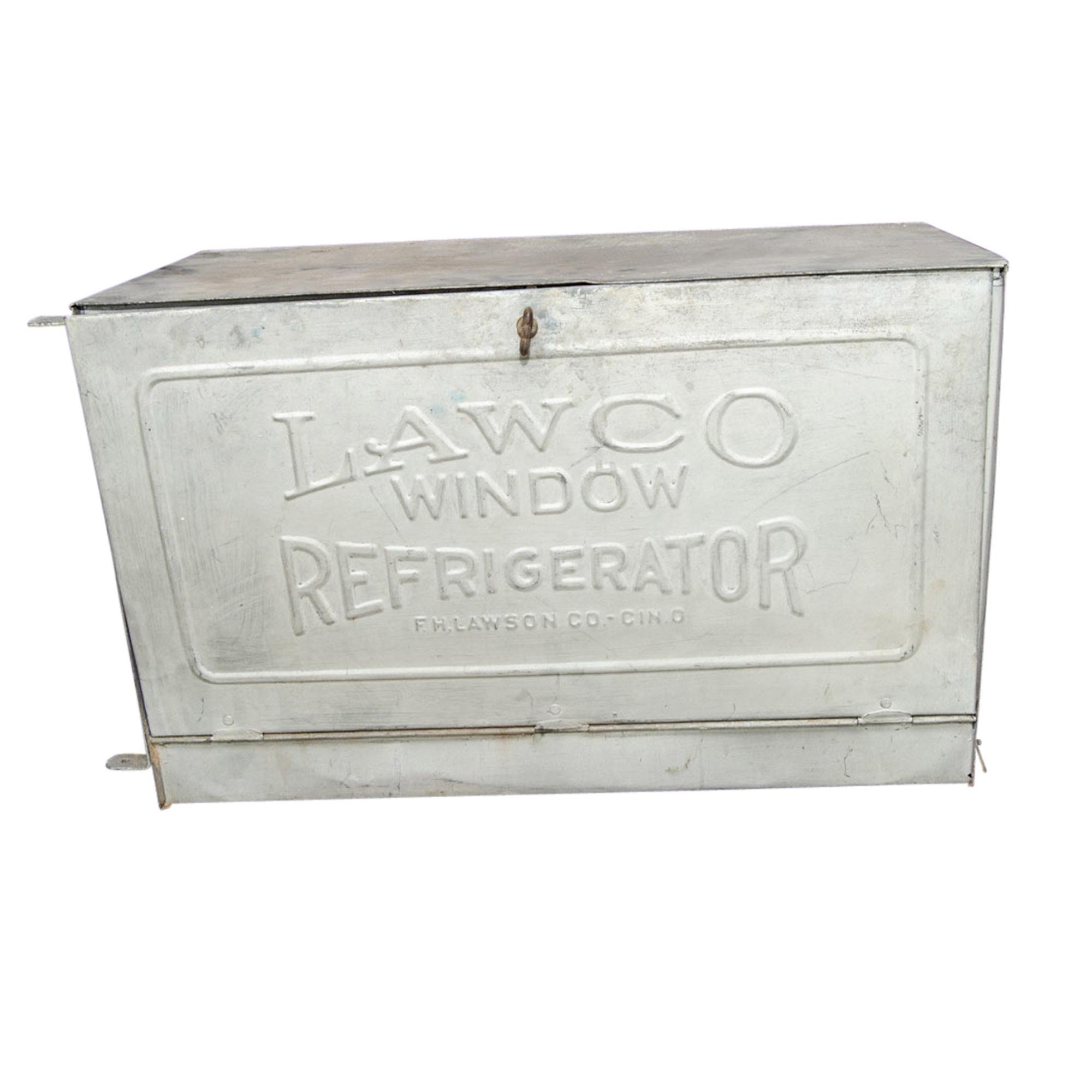 Early 20th-Century Lawco Galvanized Steel Advertising Window Refrigerator